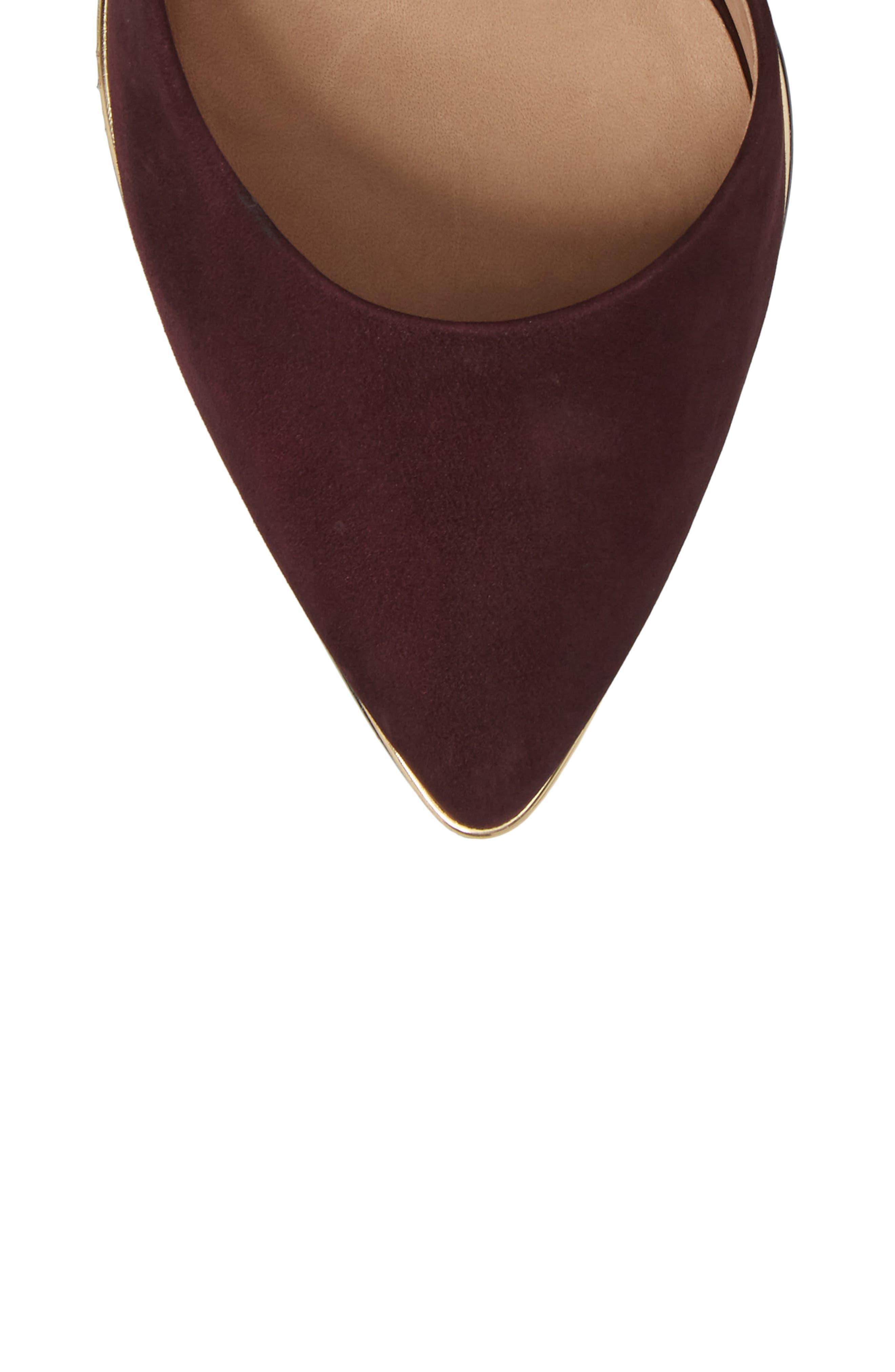 Rimona Pump,                             Alternate thumbnail 5, color,                             Wine Nubuck Leather