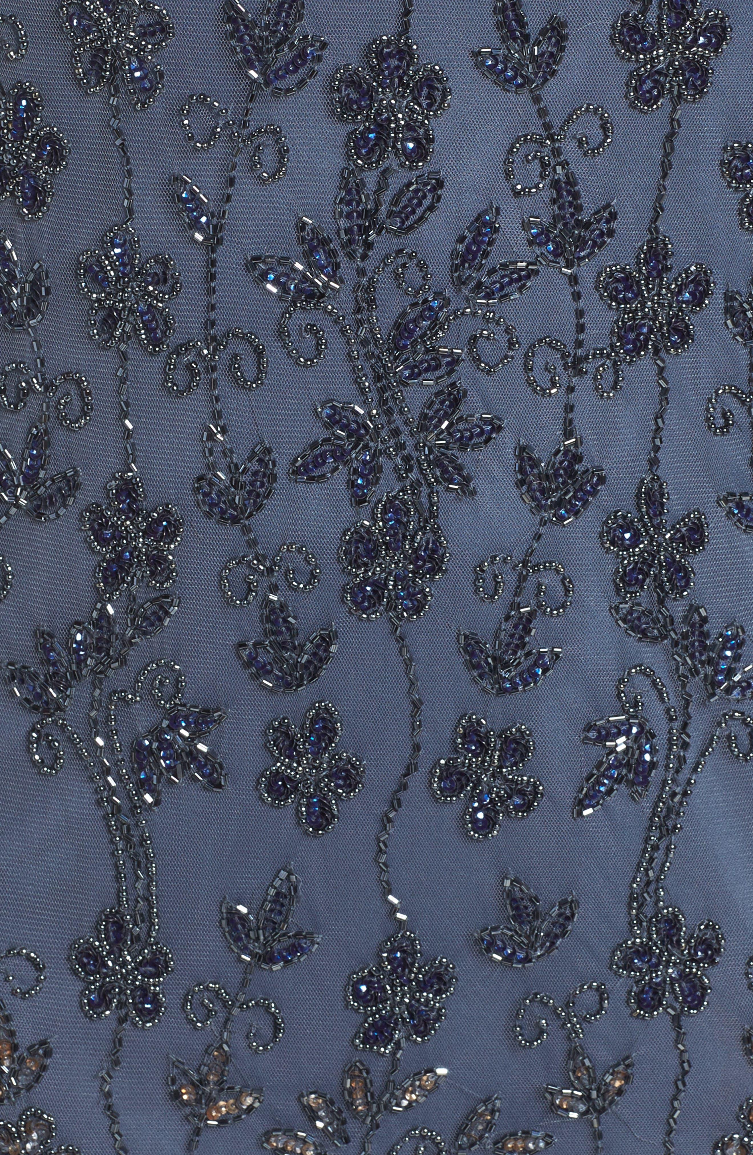 Embellished Mesh Sheath Dress,                             Alternate thumbnail 5, color,                             New Grey