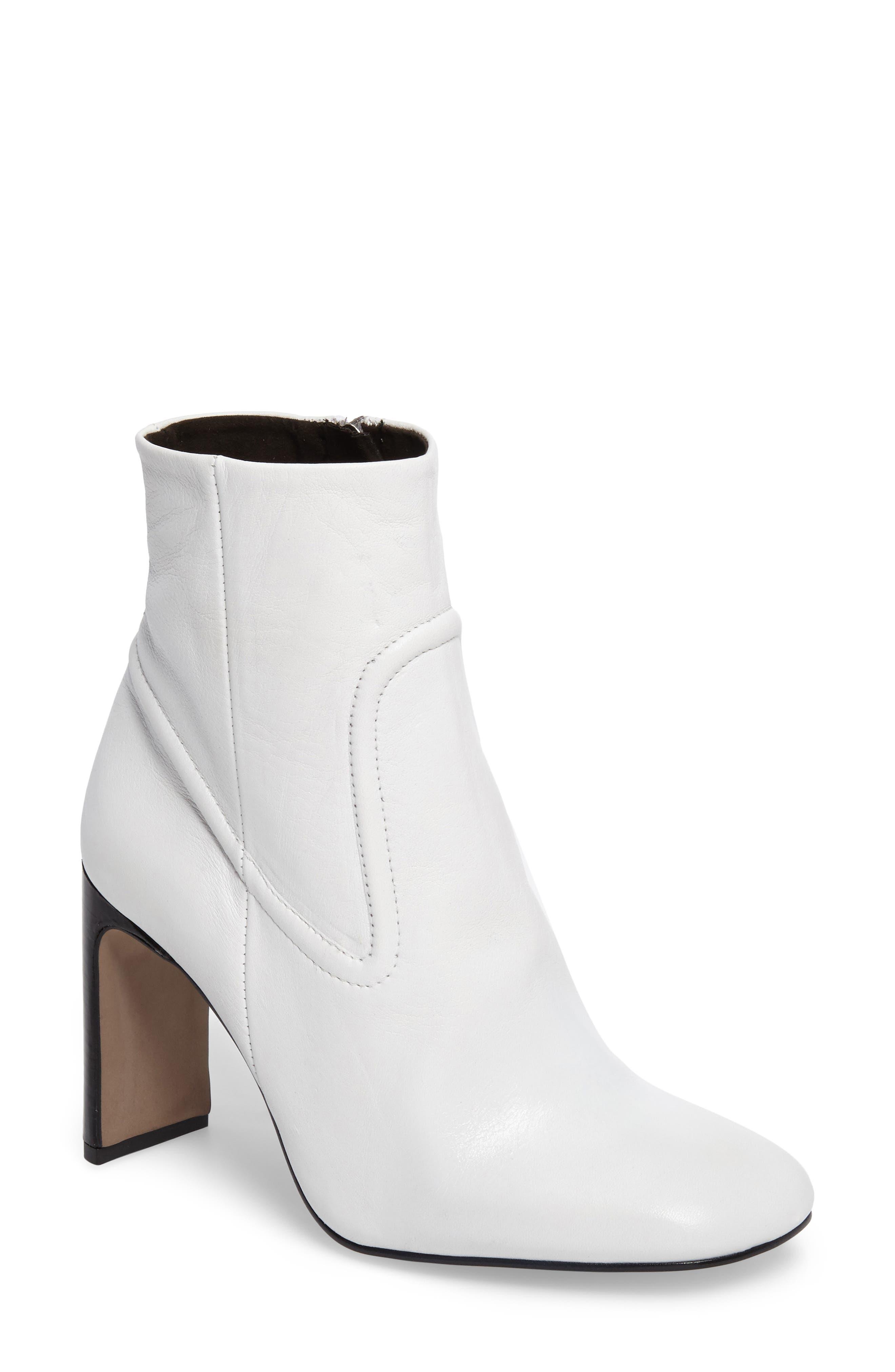 Honeydew Flat Heel Bootie,                             Main thumbnail 1, color,                             White