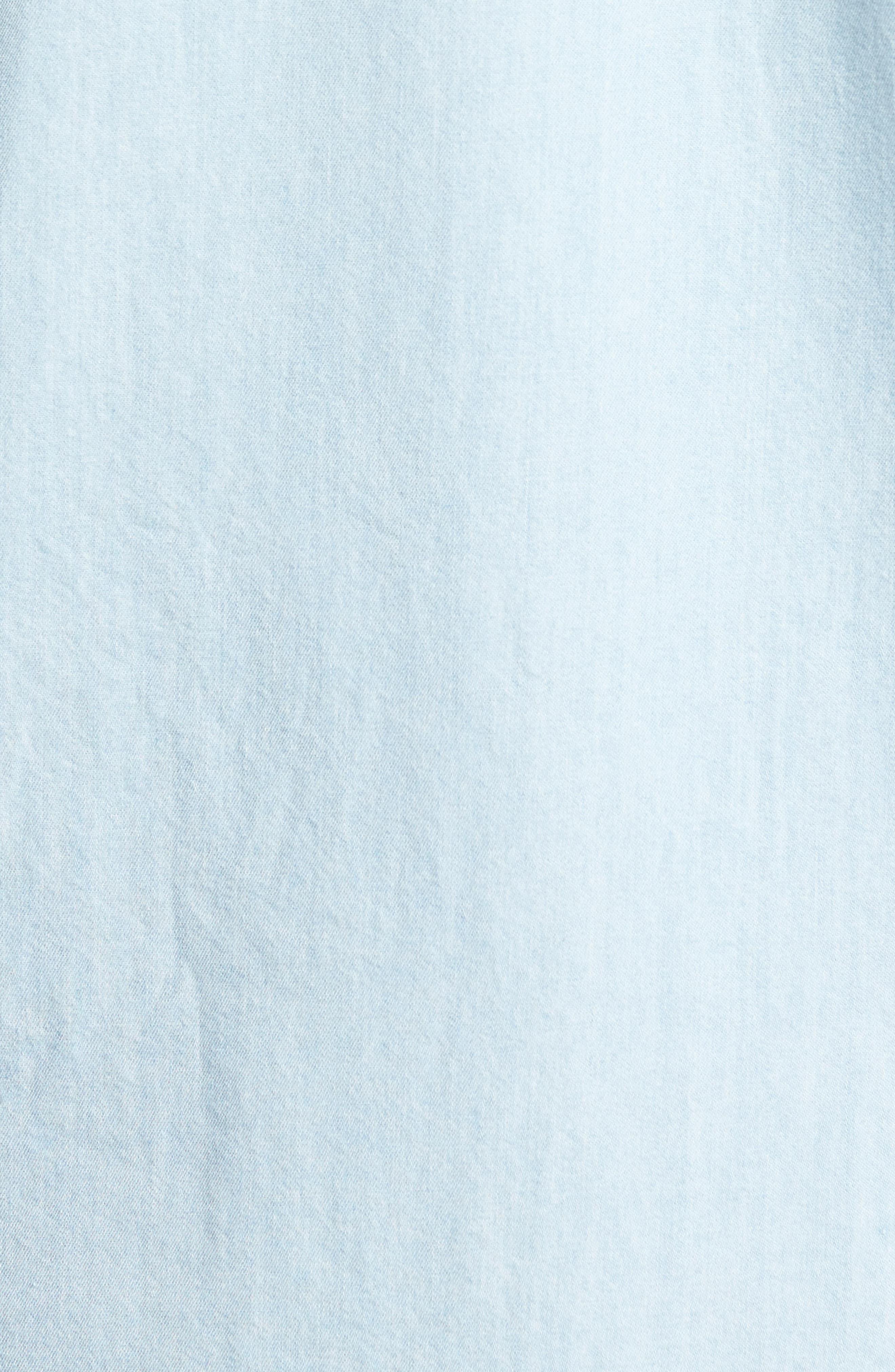 Regular Denim Sport Shirt,                             Alternate thumbnail 5, color,                             Light Blue