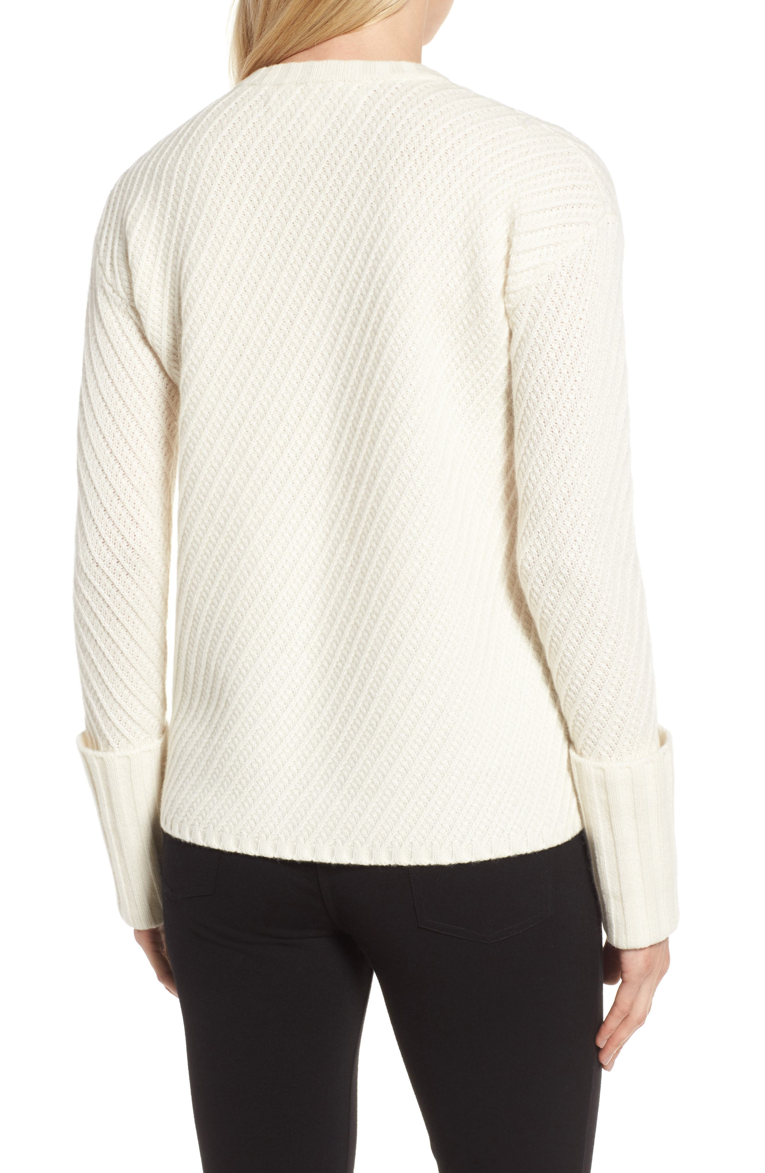 Textured Cashmere Sweater,                             Alternate thumbnail 2, color,                             Ivory Soft