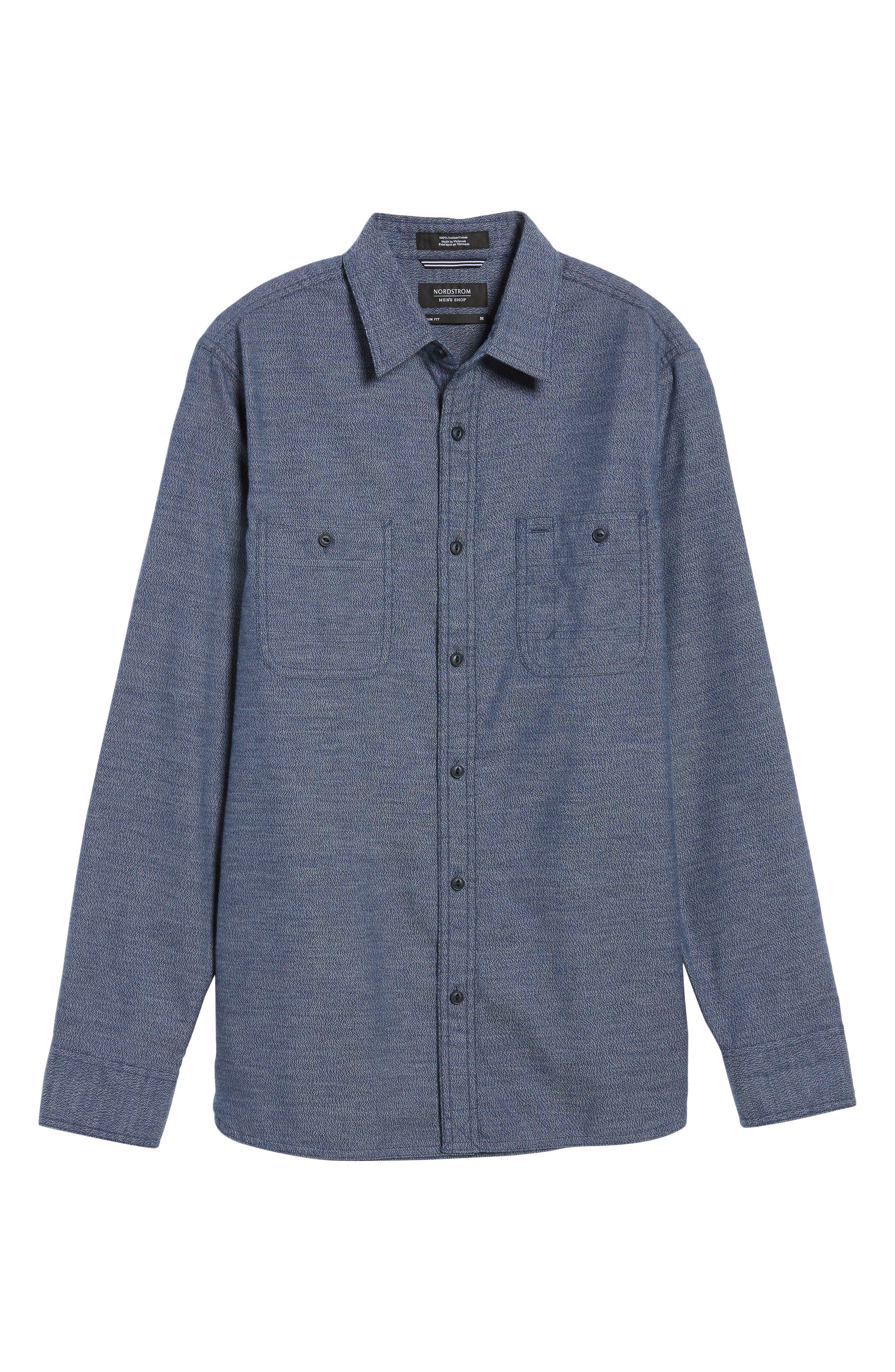 Alternate Image 6  - Nordstrom Men's Shop Slim Fit Jaspé Sport Shirt (Regular & Tall)