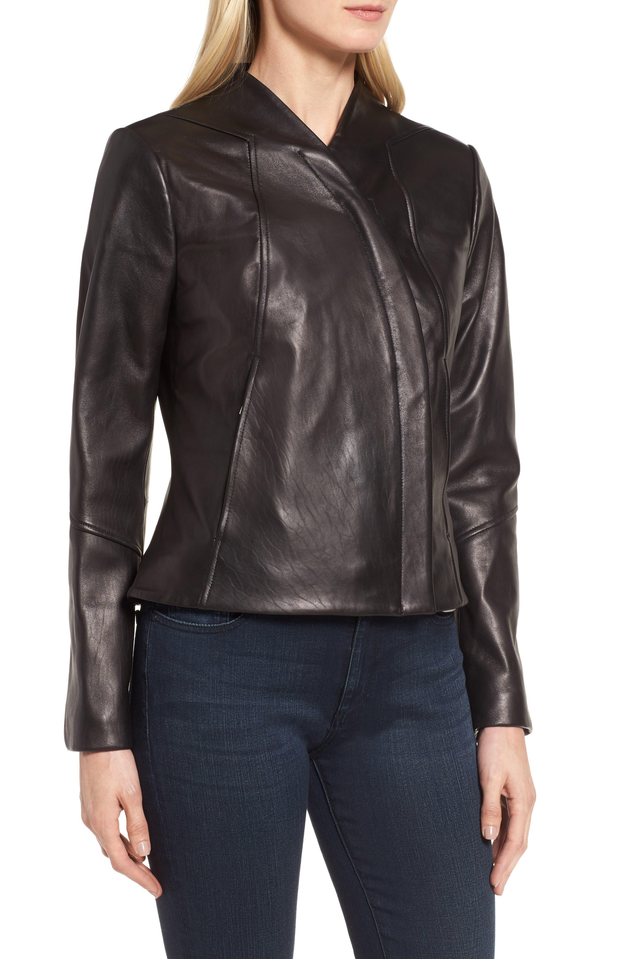 Seam Leather Jacket,                             Alternate thumbnail 4, color,                             Black