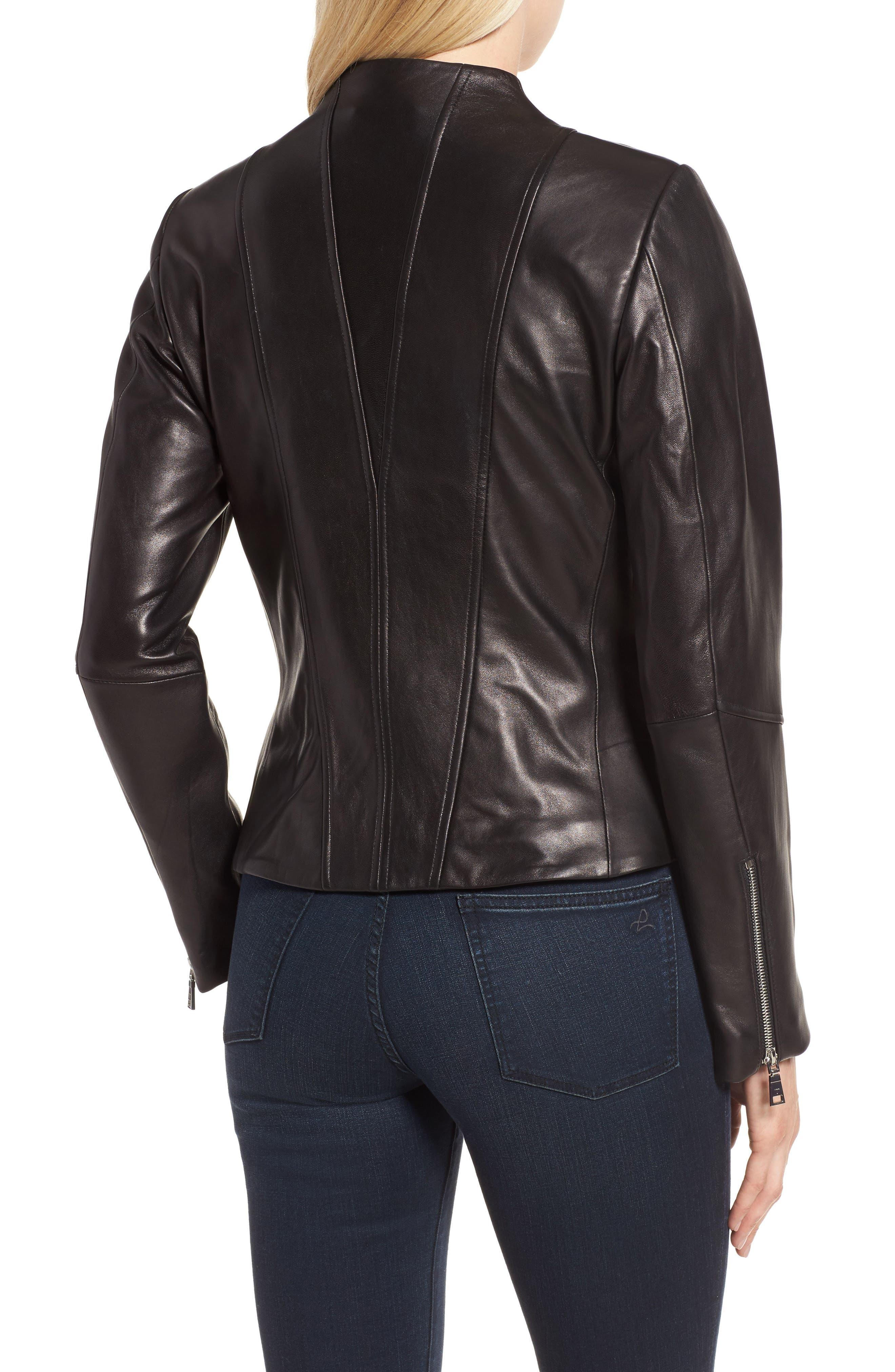 Seam Leather Jacket,                             Alternate thumbnail 2, color,                             Black