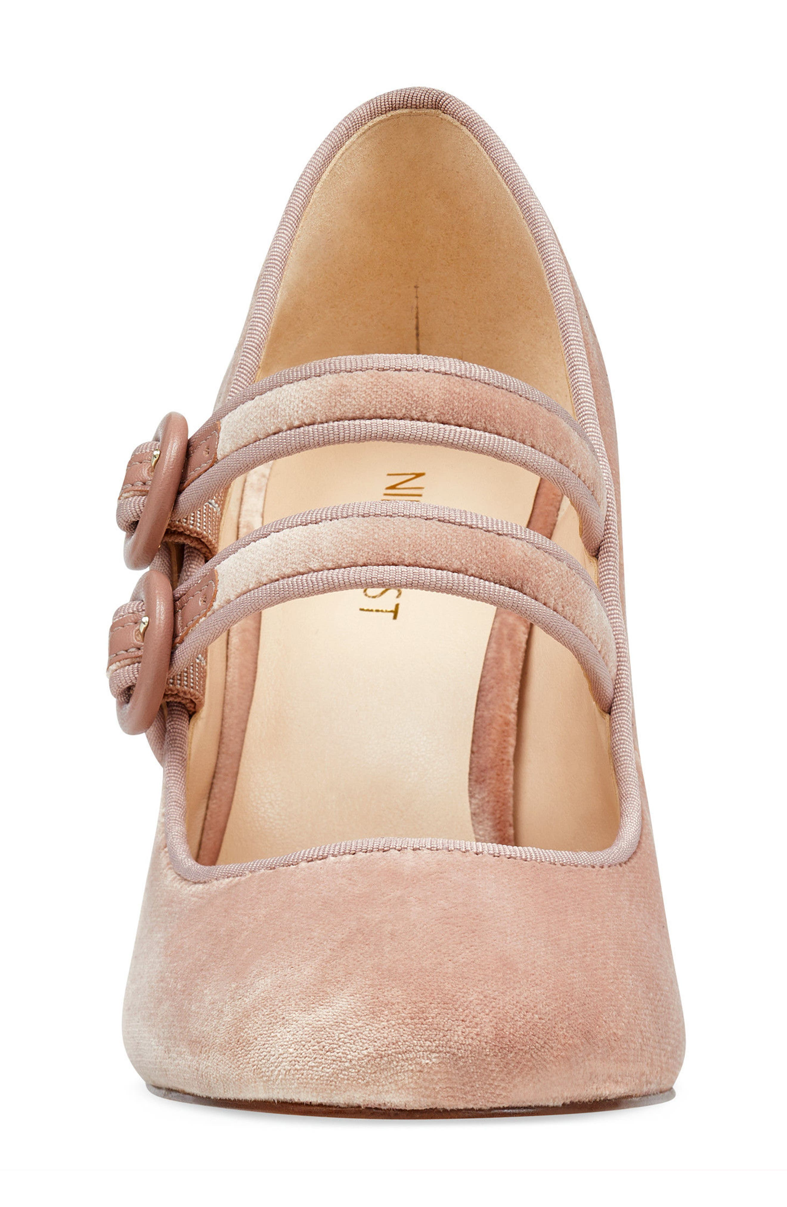 Dabney Double Strap Mary Jane Pump,                             Alternate thumbnail 4, color,                             Natural Fabric