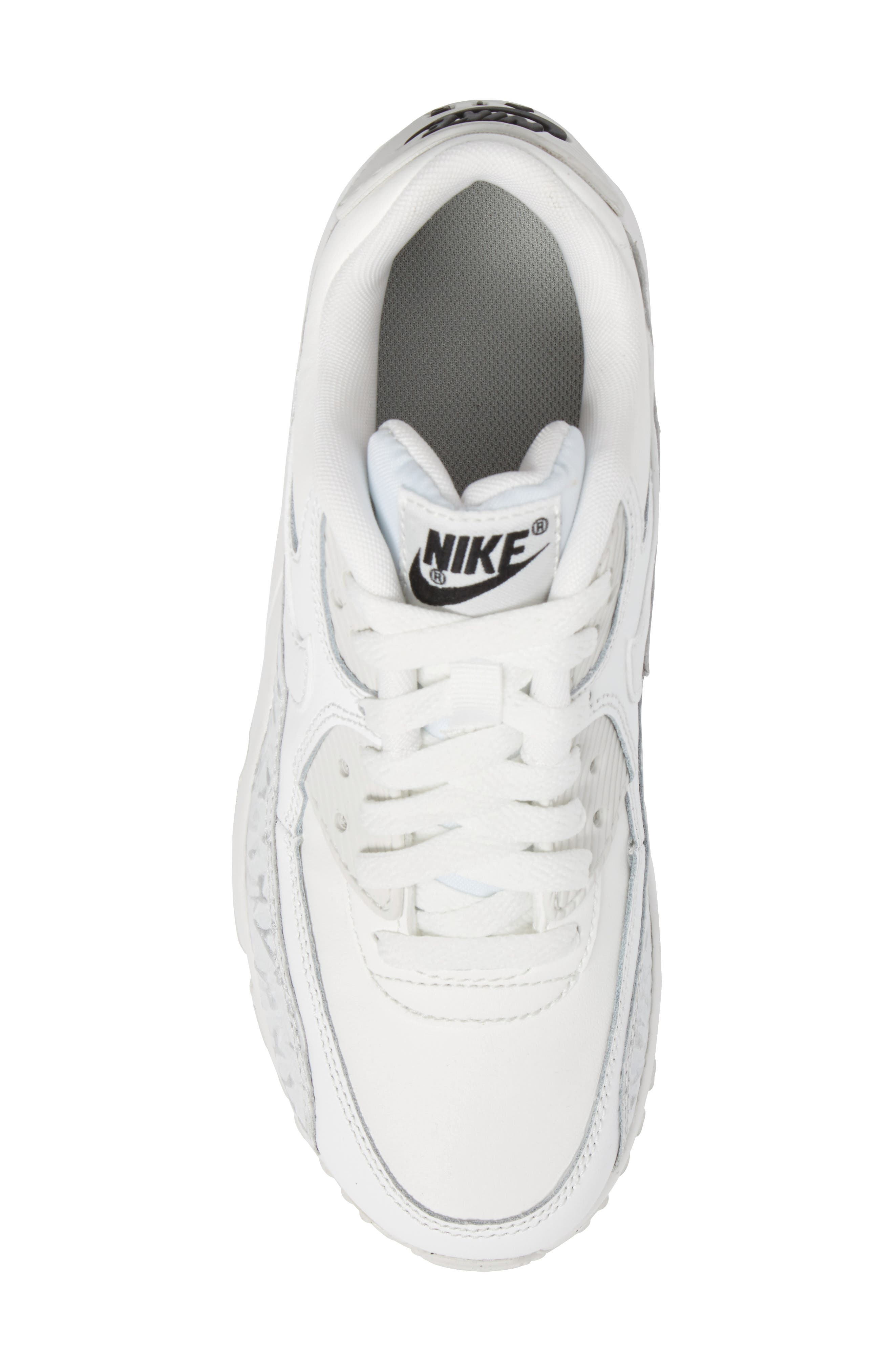 Air Max 90 Leather Sneaker,                             Alternate thumbnail 5, color,                             Summit White/ Black