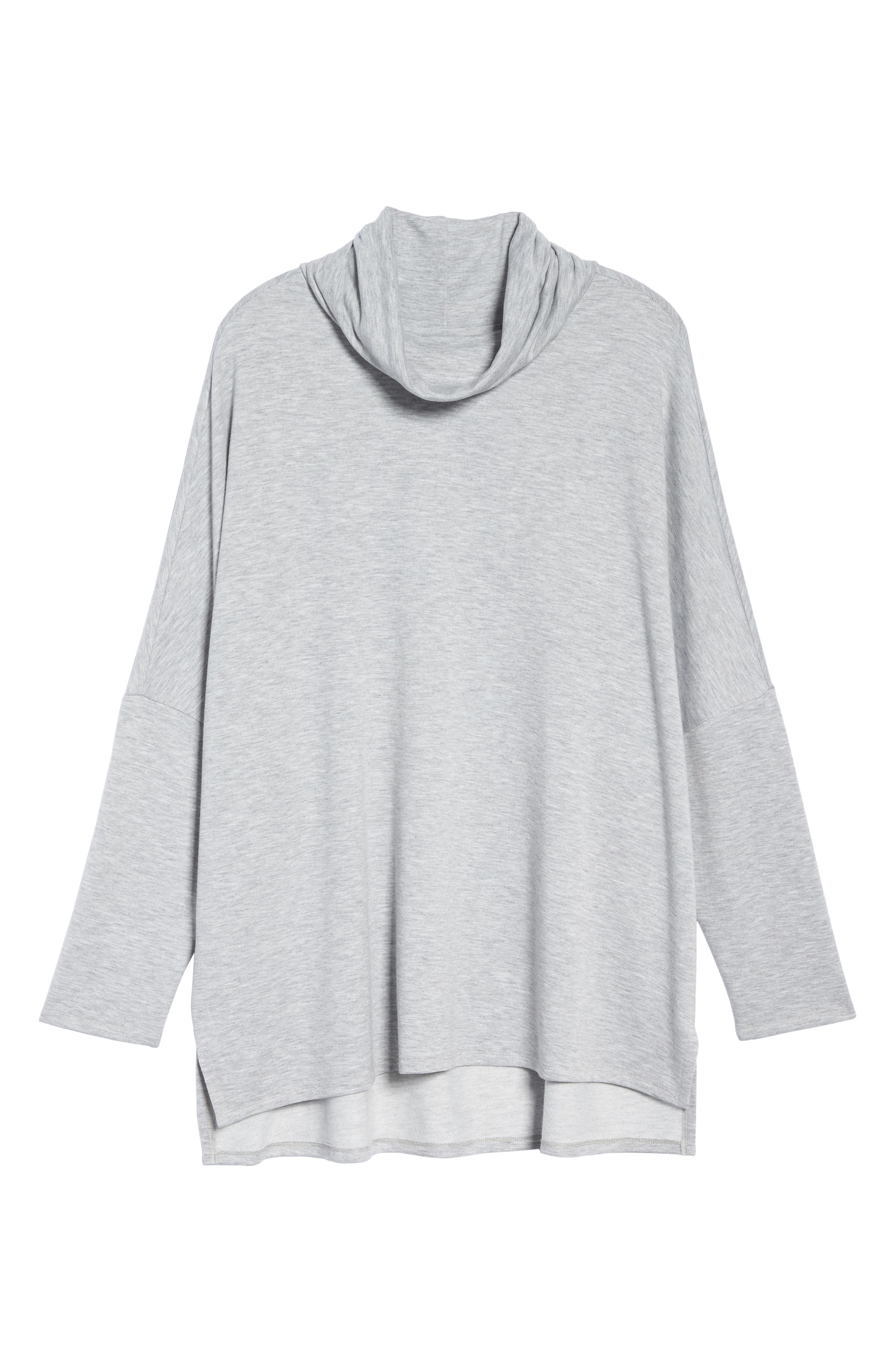 Cowl Neck Tunic,                             Alternate thumbnail 6, color,                             Grey Heather
