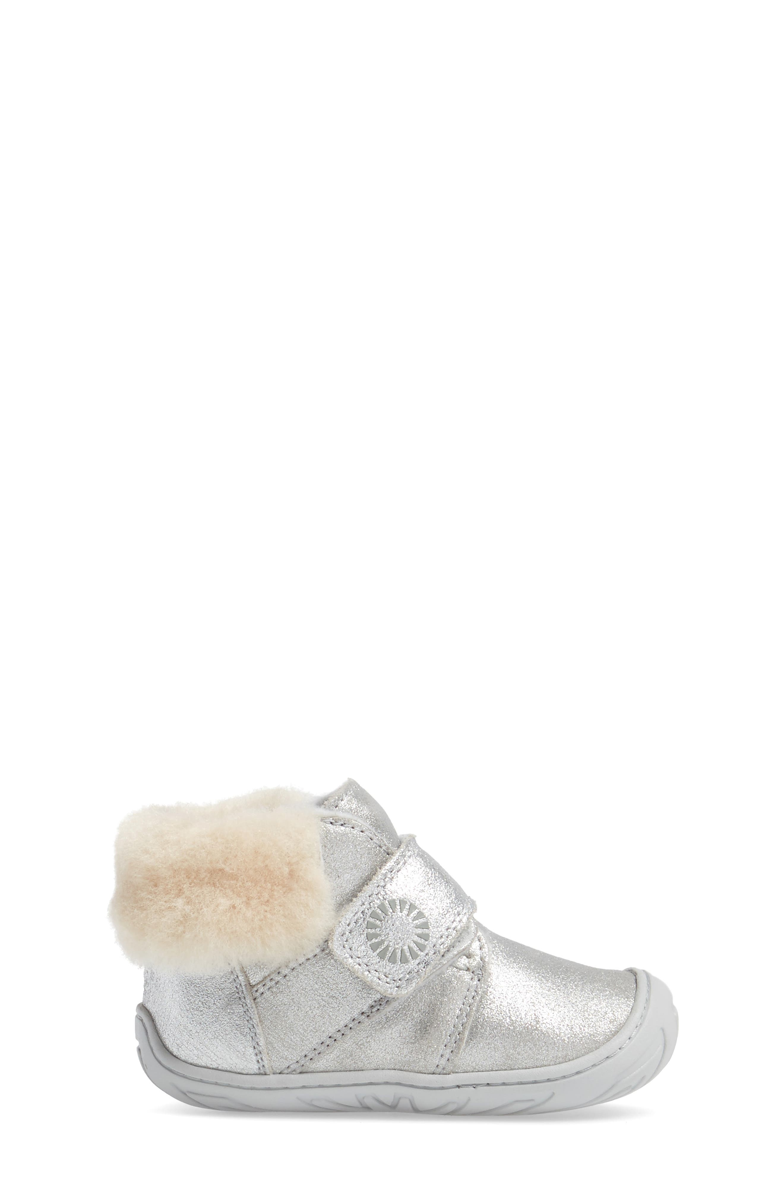 Jorgen Metallic Genuine Shearling Bootie,                             Alternate thumbnail 3, color,                             Silver