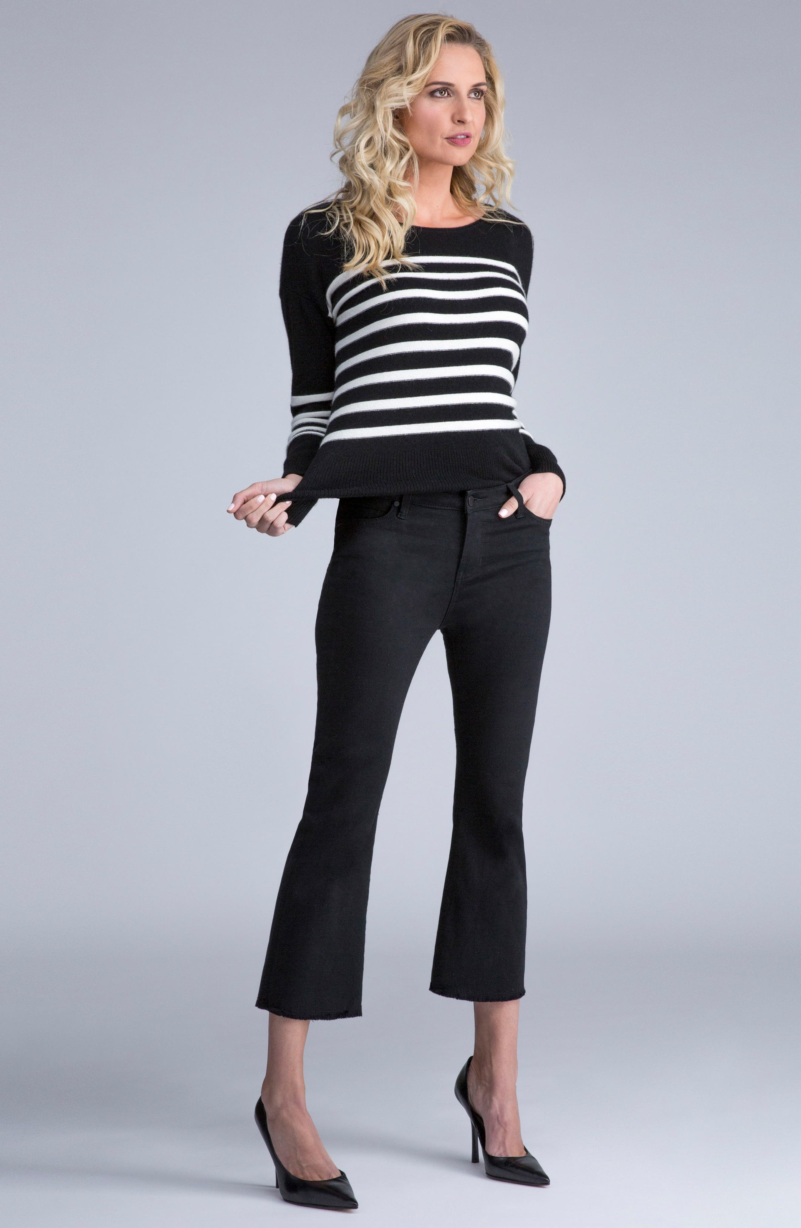 Hannah Crop Flare Jeans,                             Alternate thumbnail 2, color,                             Black Rinse