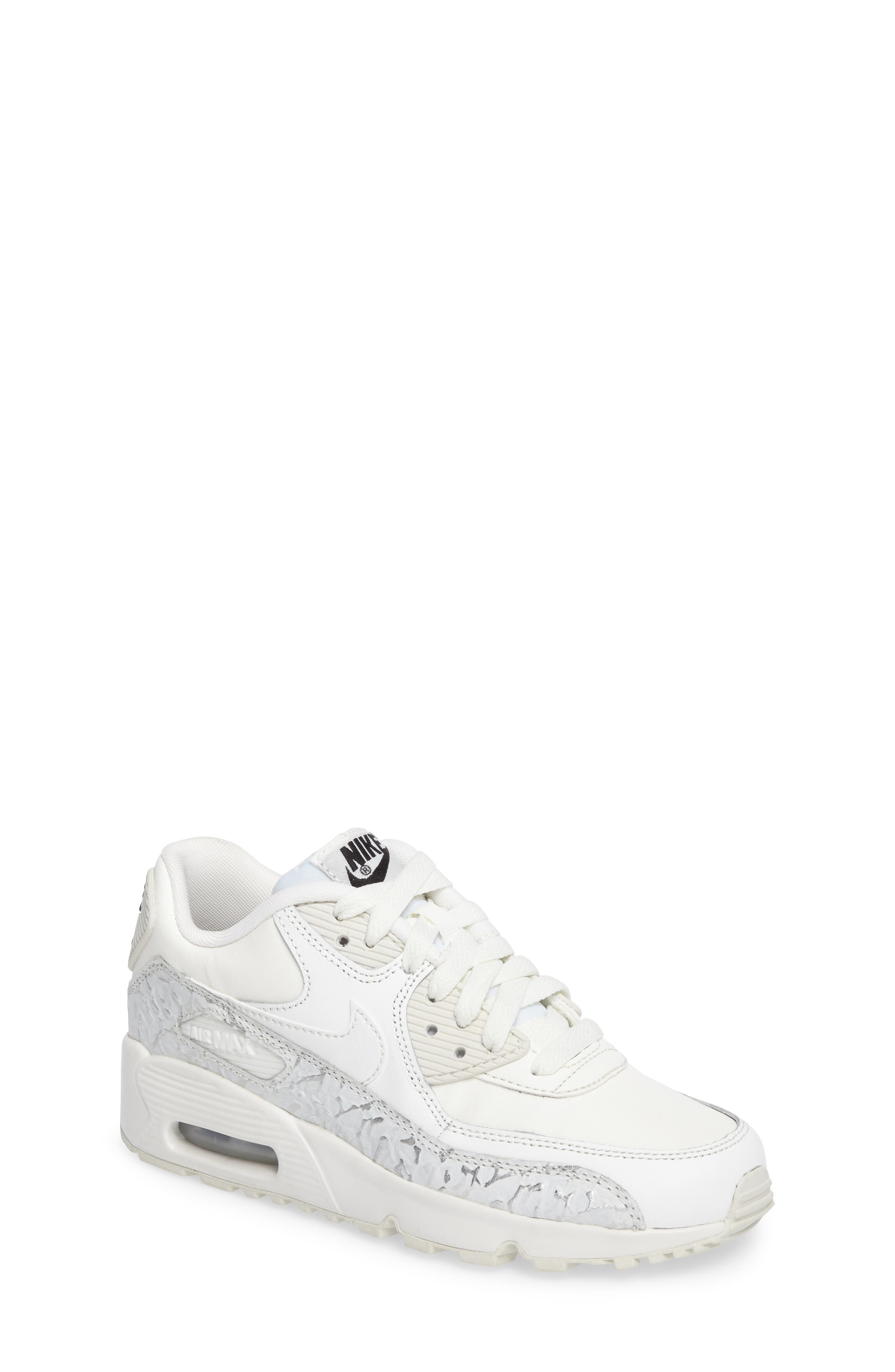 Air Max 90 Leather Sneaker,                         Main,                         color, Summit White/ Black