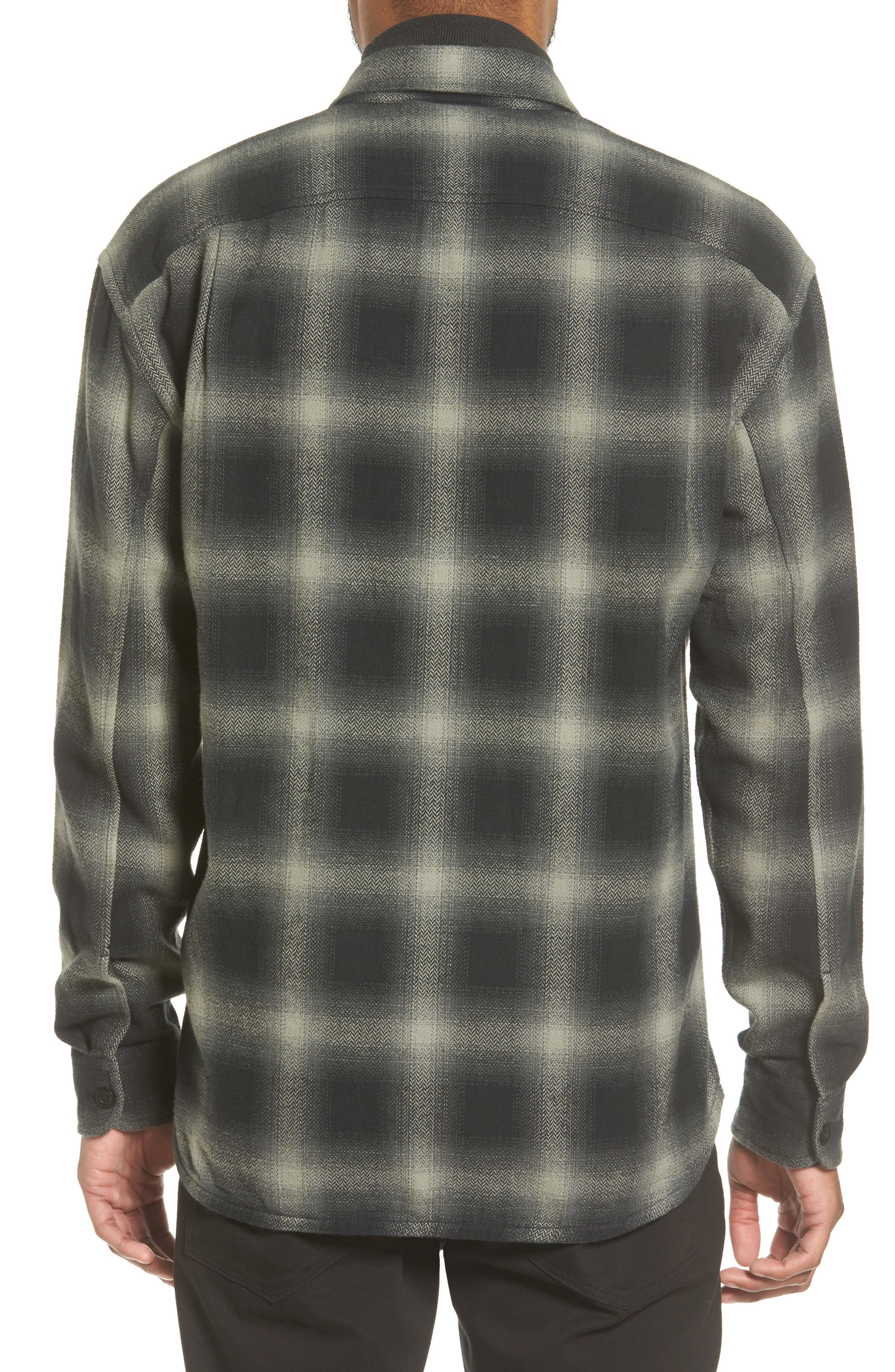 Ombré Buffalo Plaid Sport Shirt,                             Alternate thumbnail 2, color,                             Grey