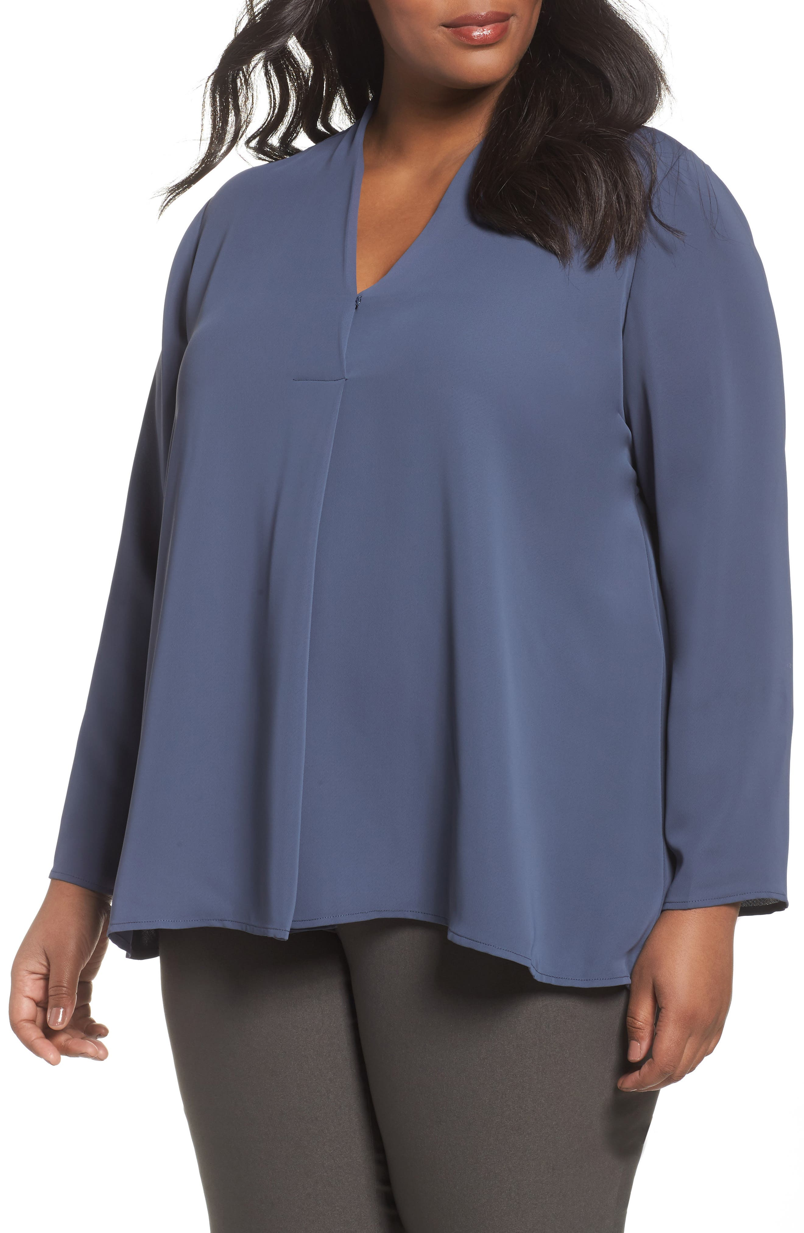 Majestic Matte Satin Blouse,                             Main thumbnail 1, color,                             Slate