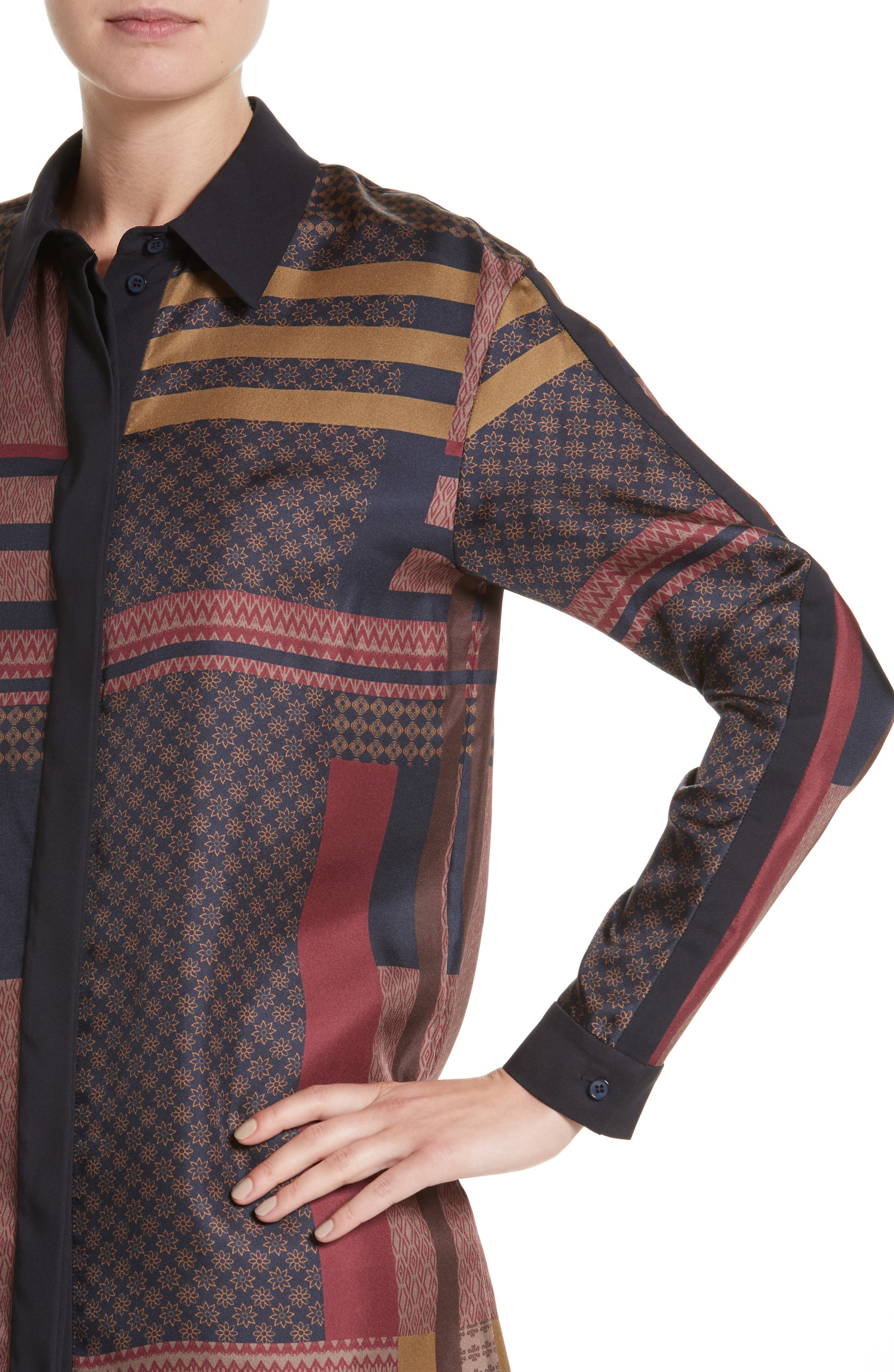 Alternate Image 4  - Lafayette 148 New York Sabel Patchwork Silk Blouse
