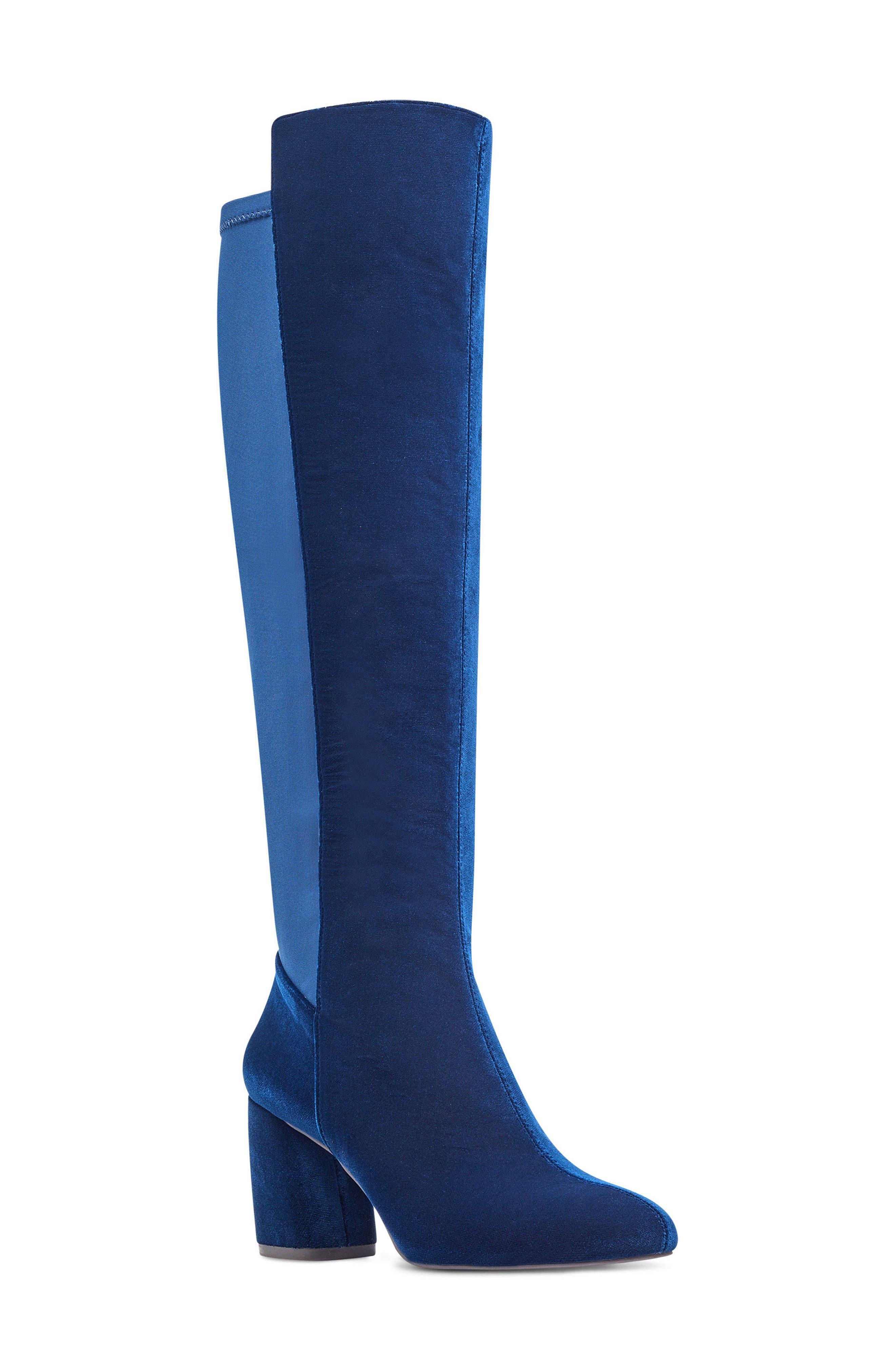 Kerianna Knee High Boot,                         Main,                         color, Navy Fabric