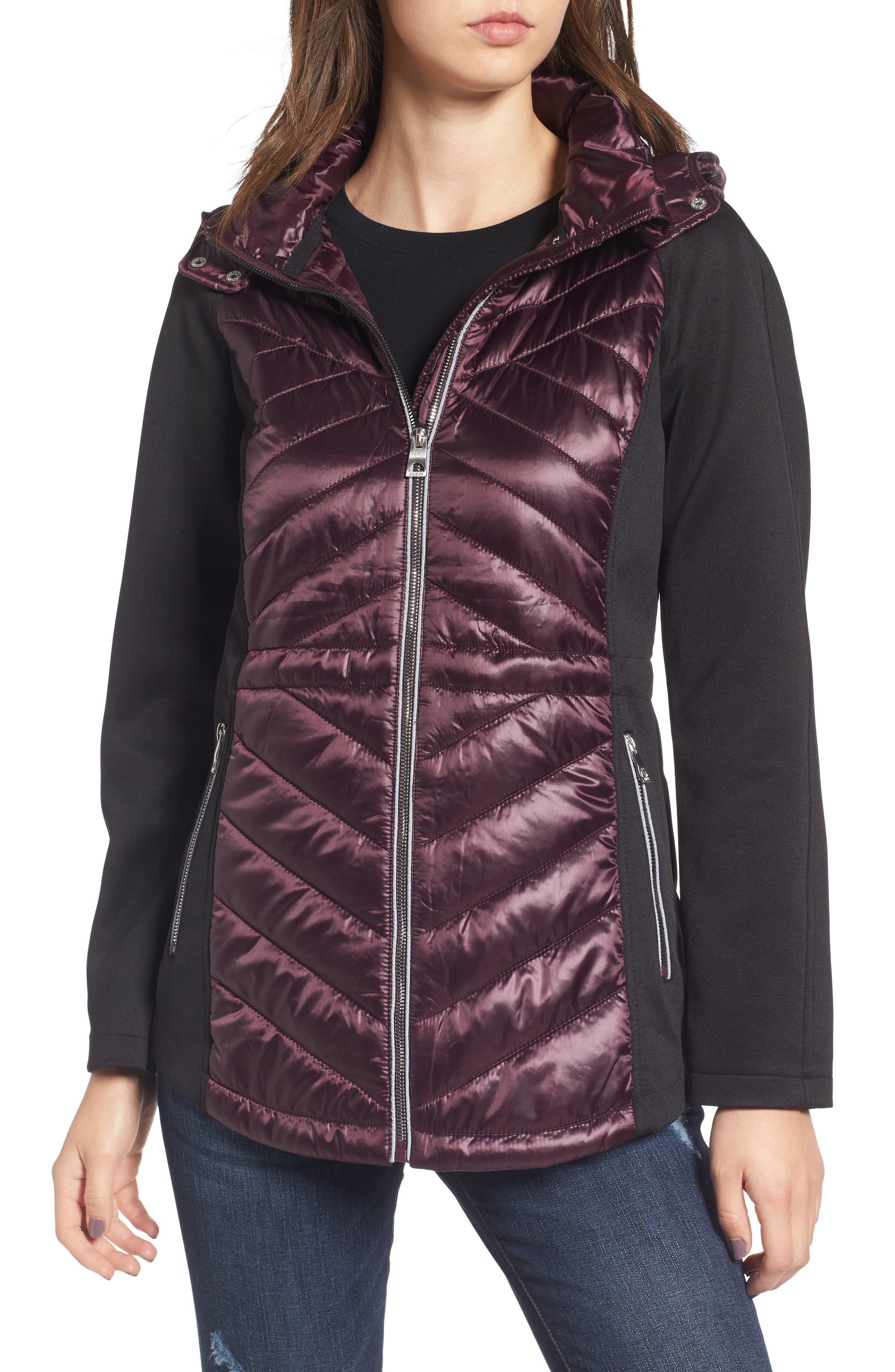 Insulated Anorak Jacket,                         Main,                         color, Wine
