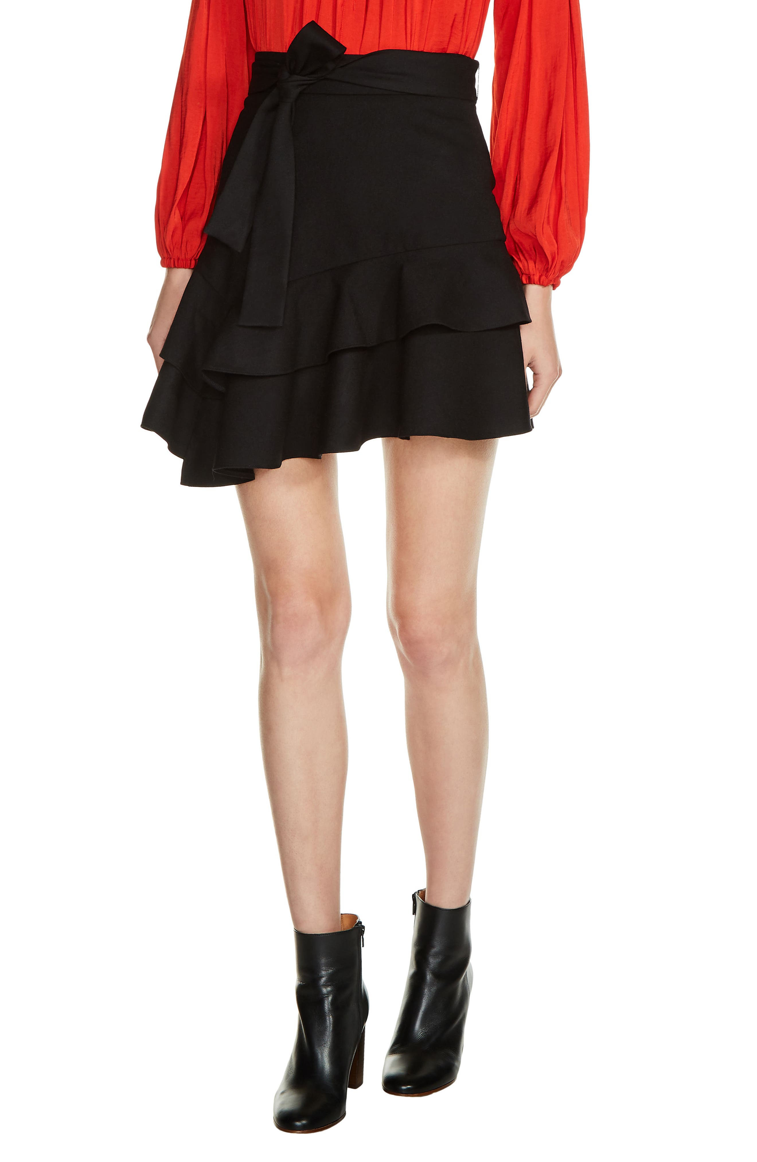 Tiered Ruffle Skirt,                         Main,                         color, Black