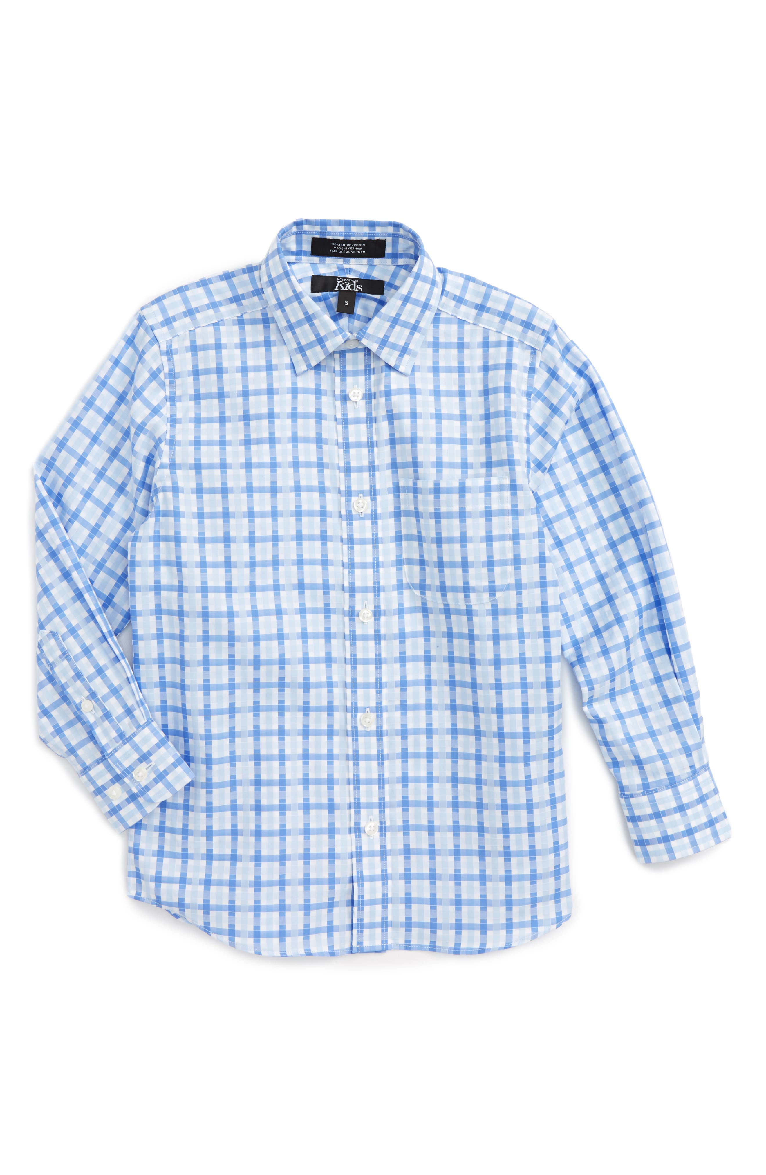 Nordstrom Kids Blue Haze Plaid Dress Shirt (Toddler Boys & Little Boys)