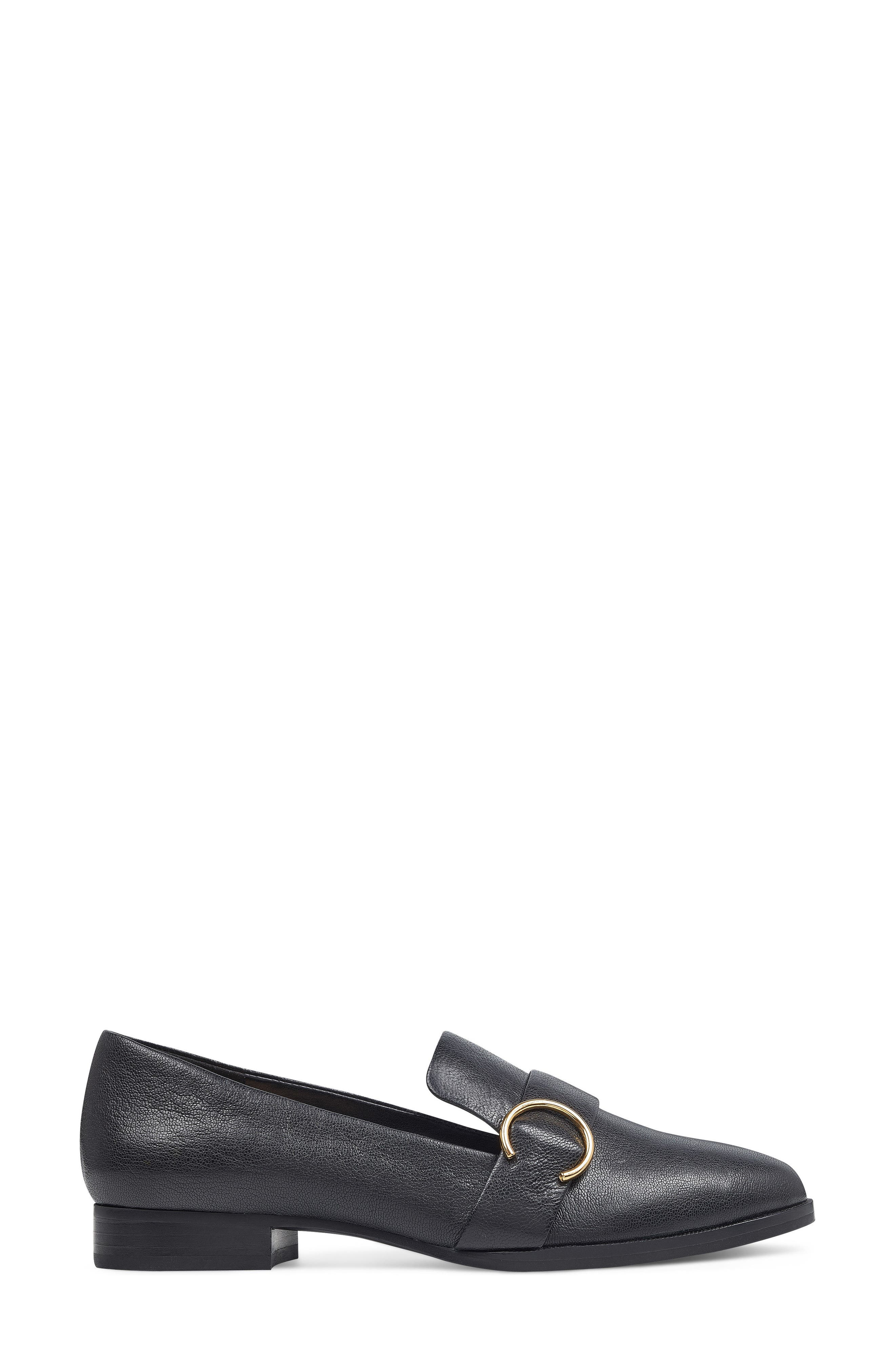 Huff Loafer Flat,                             Alternate thumbnail 3, color,                             Black Leather