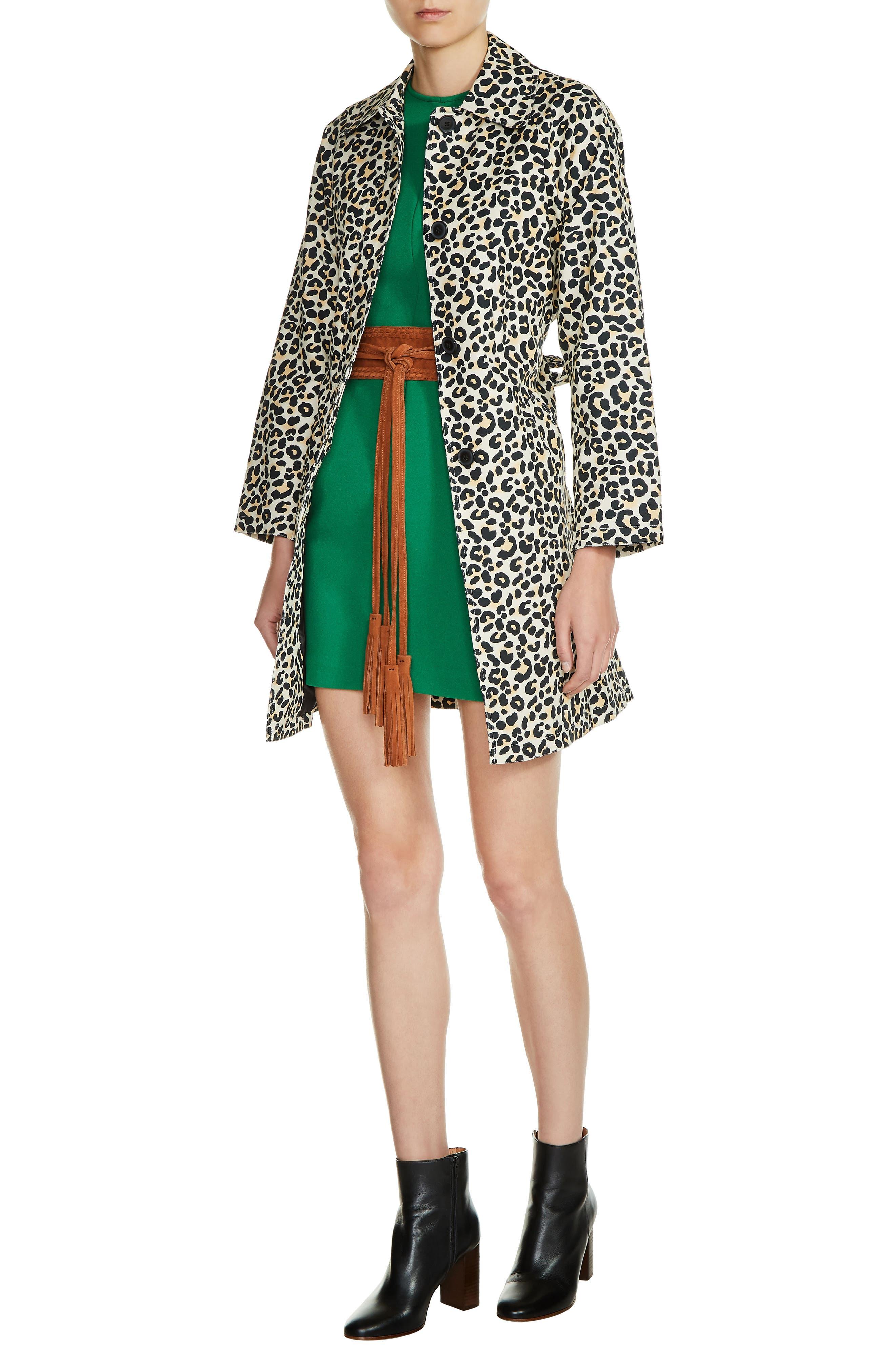 Leopard Print Coat,                         Main,                         color, Green Print