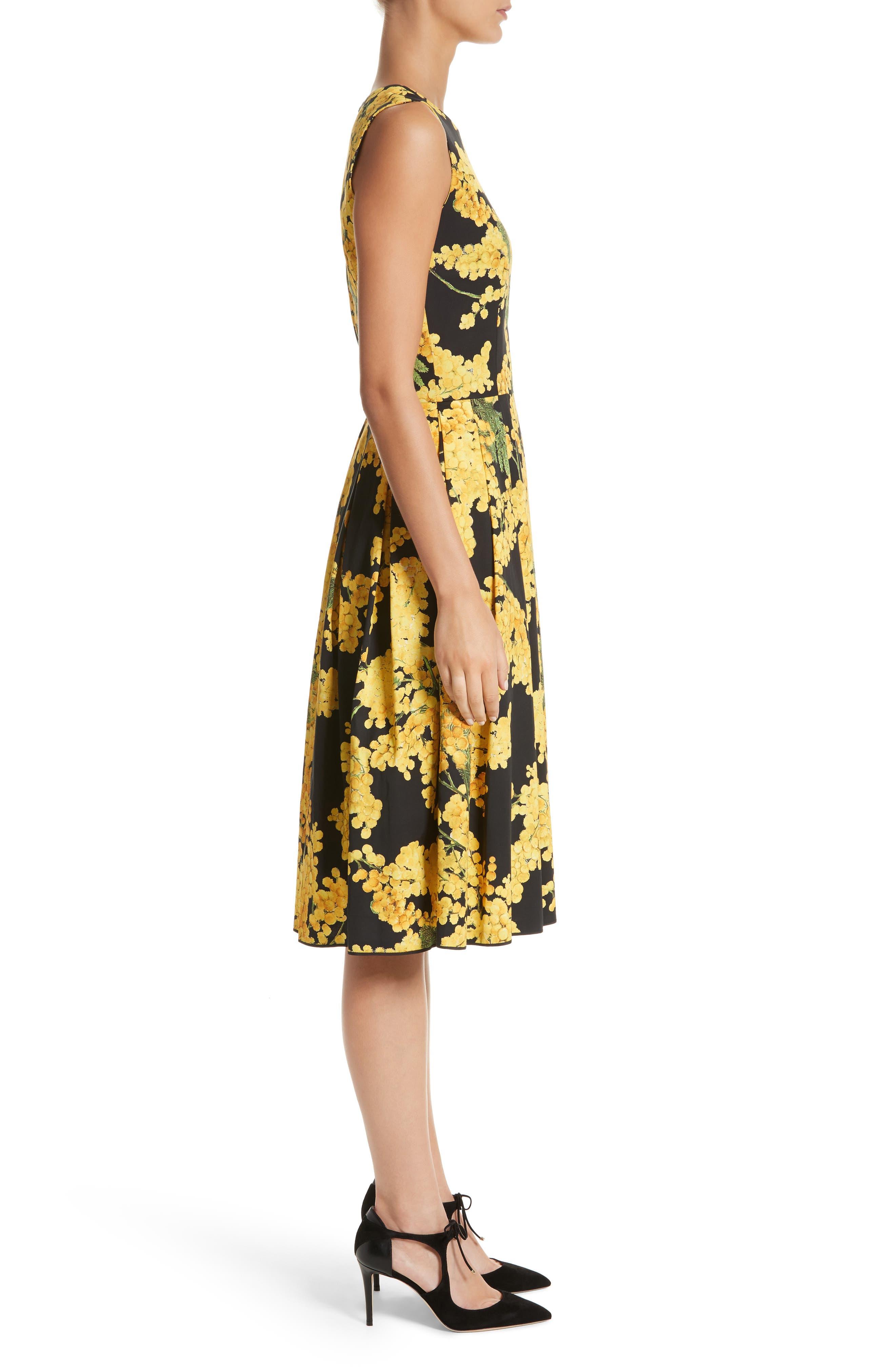 Floral Print Faille Day Dress,                             Alternate thumbnail 3, color,                             Freesia Yellow/Black