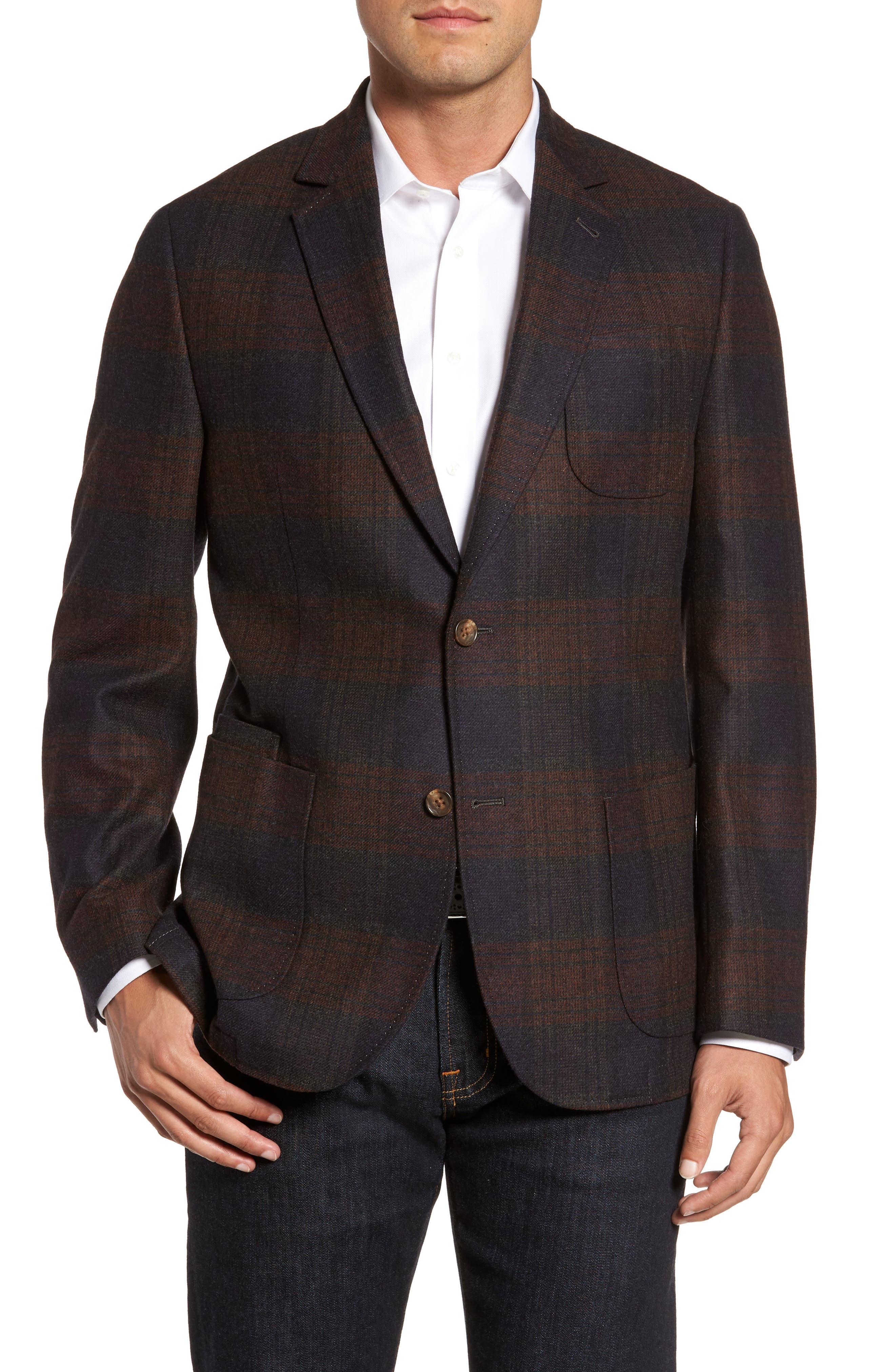 Plaid Wool Sport Coat,                         Main,                         color, Charcoal