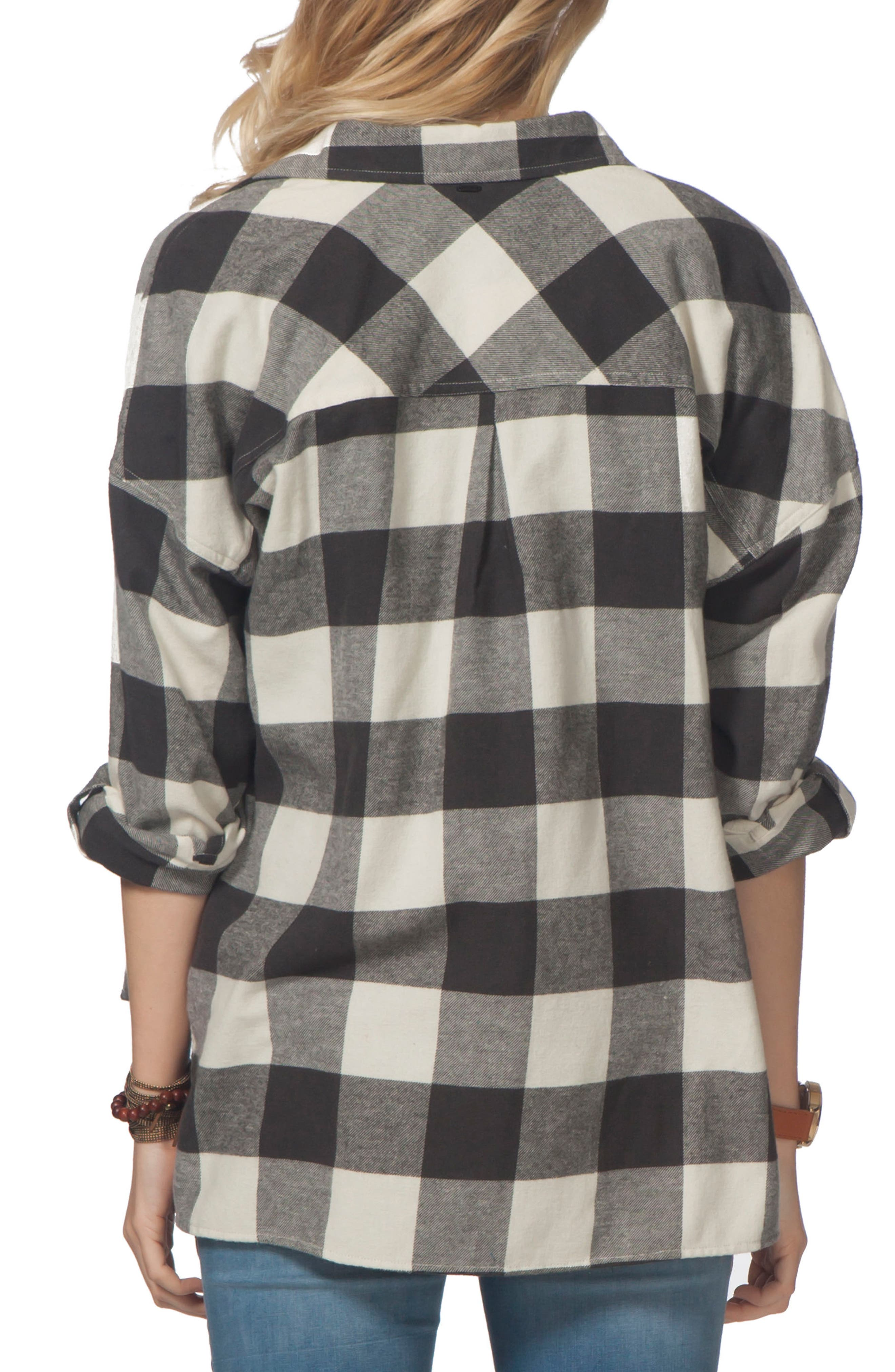 Marli Flannel Top,                             Alternate thumbnail 2, color,                             Black