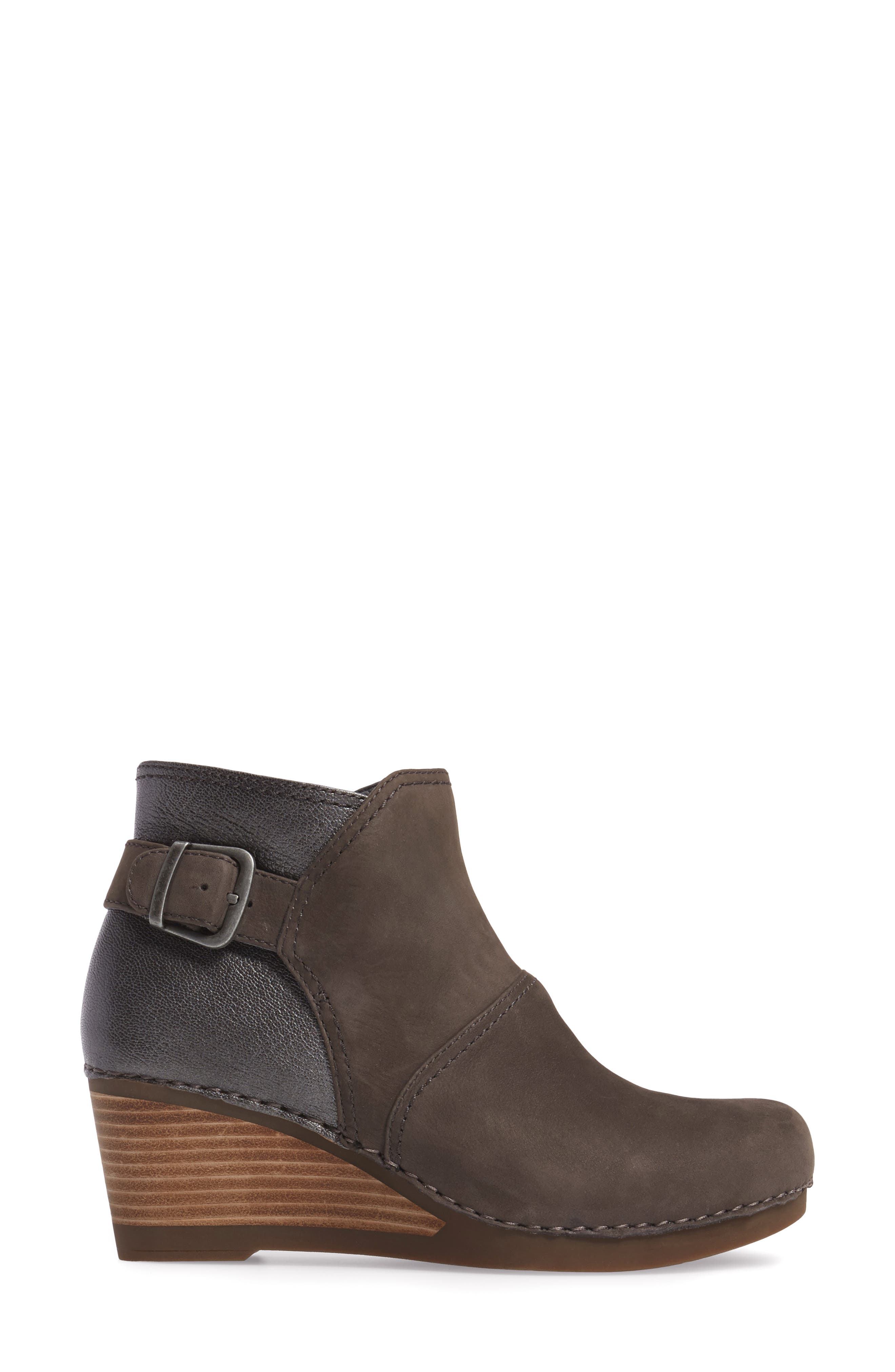 'Shirley' Wedge Bootie,                             Alternate thumbnail 3, color,                             Grey Nubuck Leather