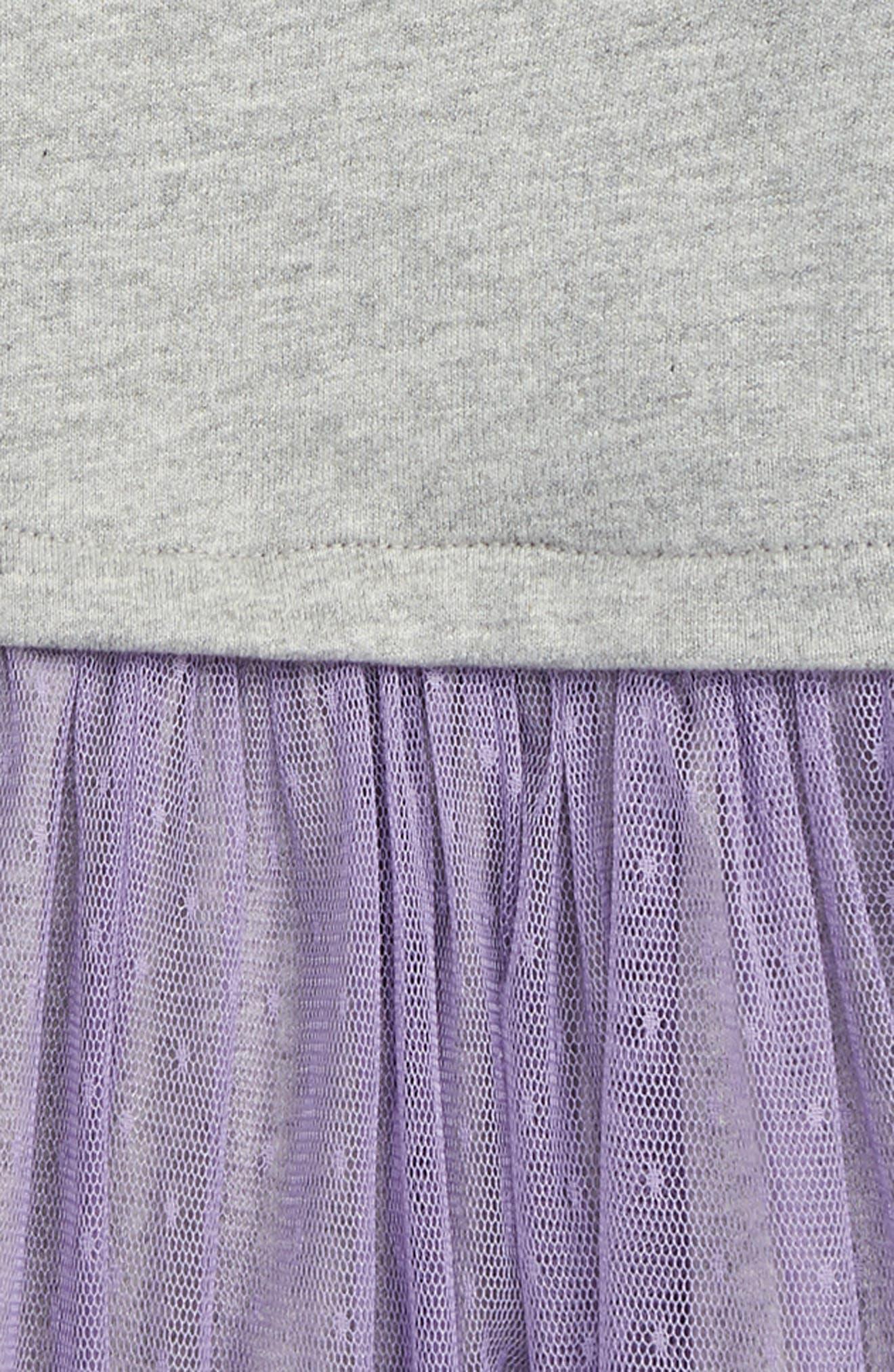 Tulle Skirted Dress,                             Alternate thumbnail 2, color,                             Med Heather Grey