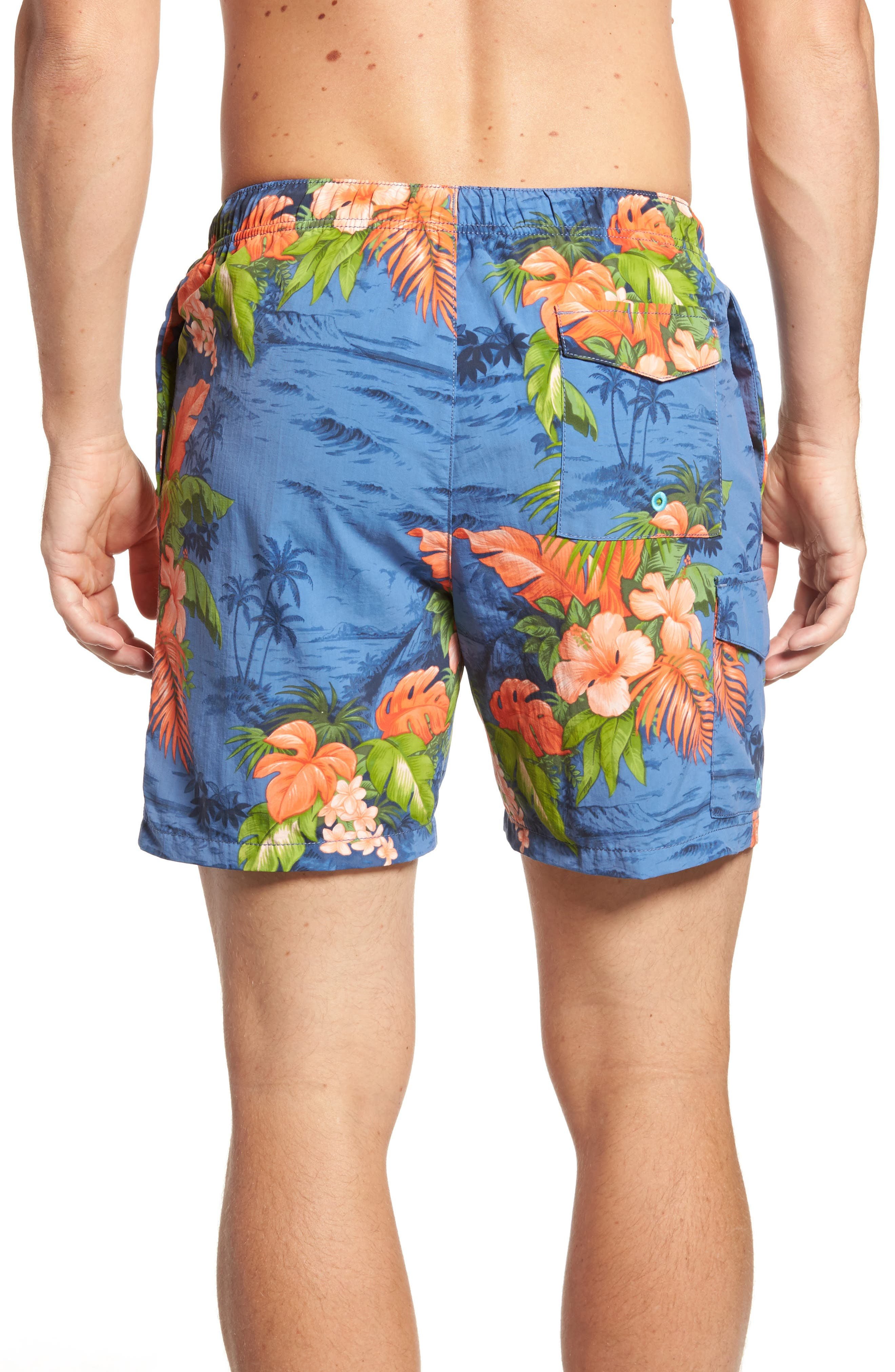 Naples Fiji Ferns Swim Trunks,                             Alternate thumbnail 2, color,                             Dockside Blue