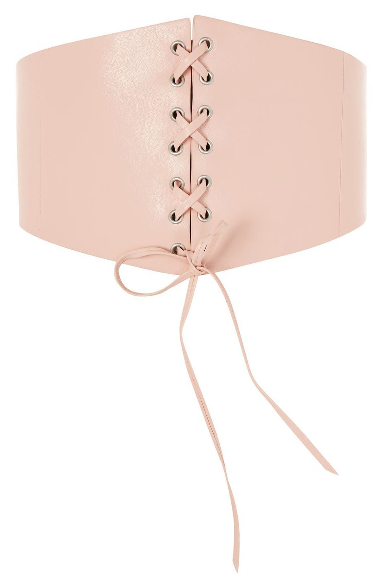 Lace-Up Faux Leather Corset,                         Main,                         color, Nude