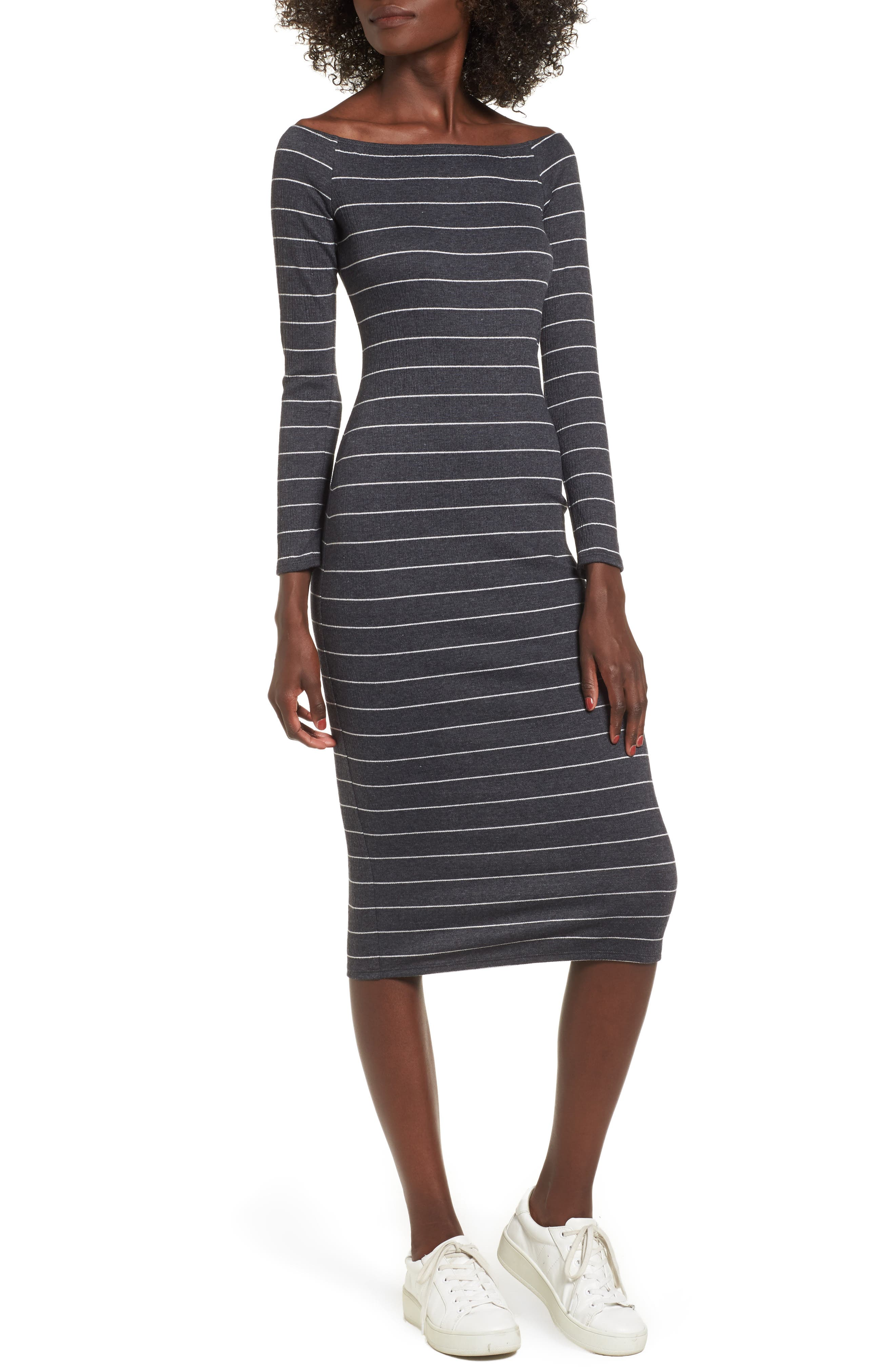 SOPRANO Stripe Off the Shoulder Midi Dress