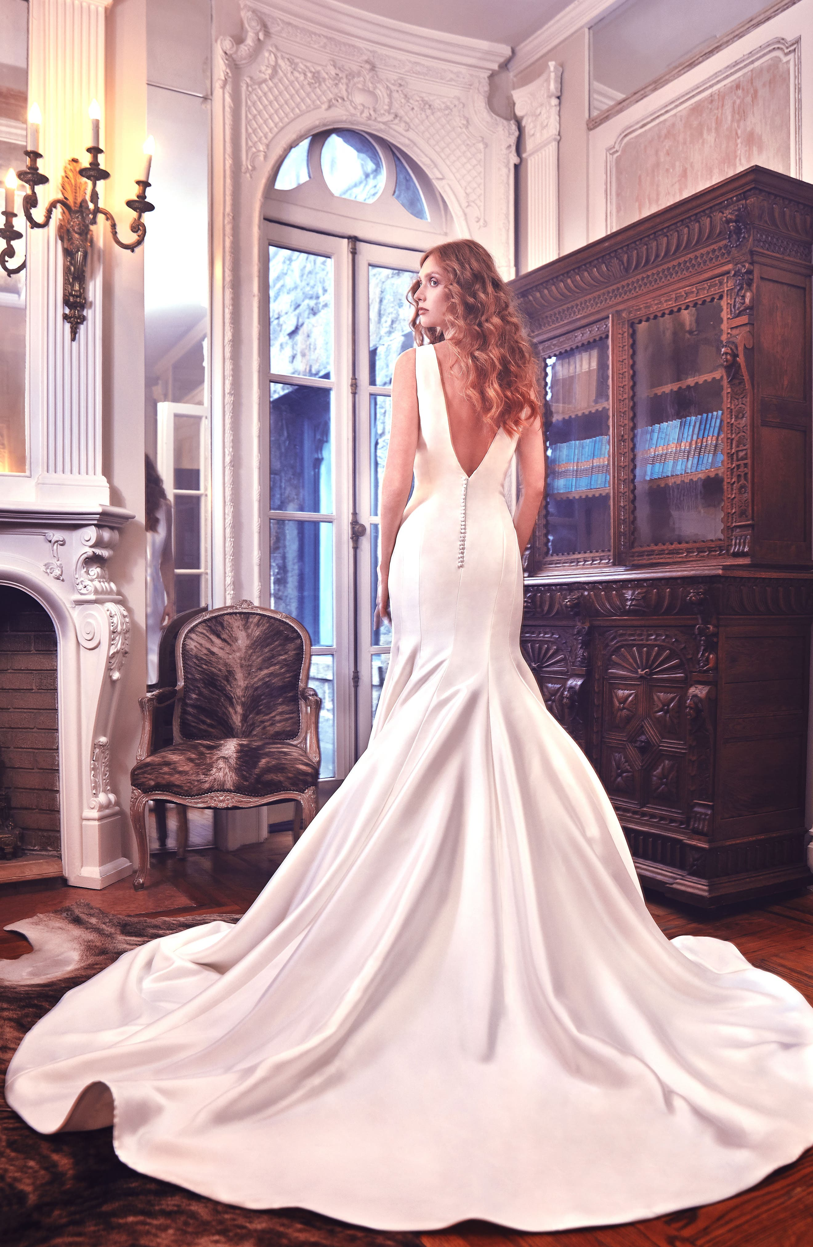 Mercer Shantung Trumpet Gown,                             Alternate thumbnail 2, color,                             Ivory