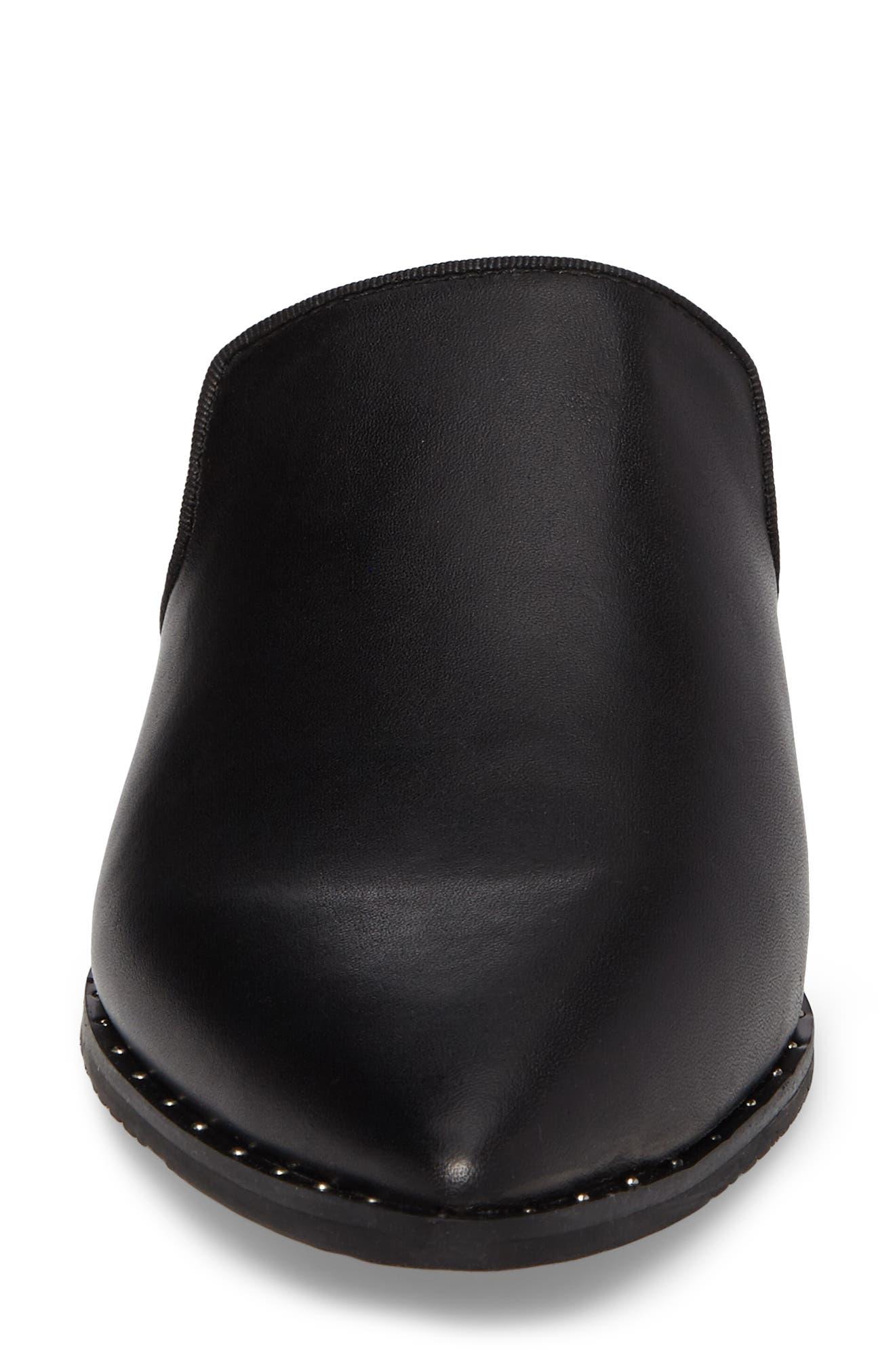 Keaton Loafer Mule,                             Alternate thumbnail 4, color,                             Black Leather