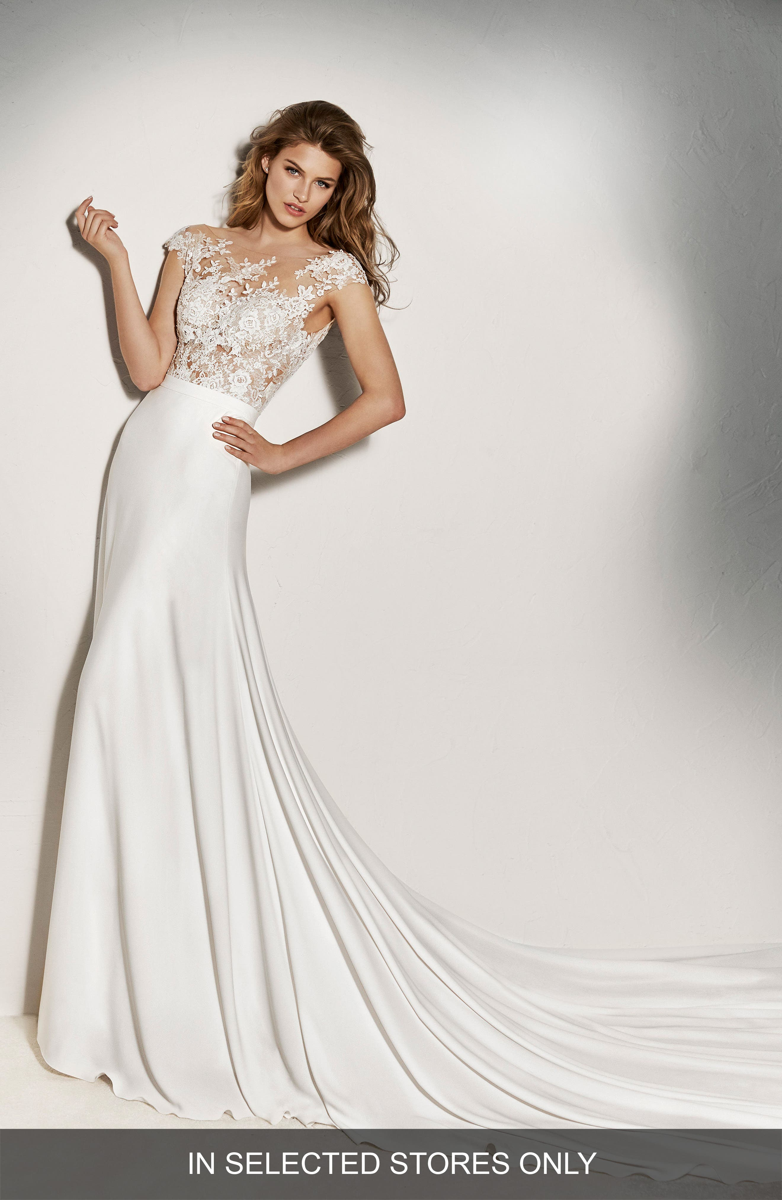 Pronovias Xenine Off the Shoulder Illusion A-Line Gown