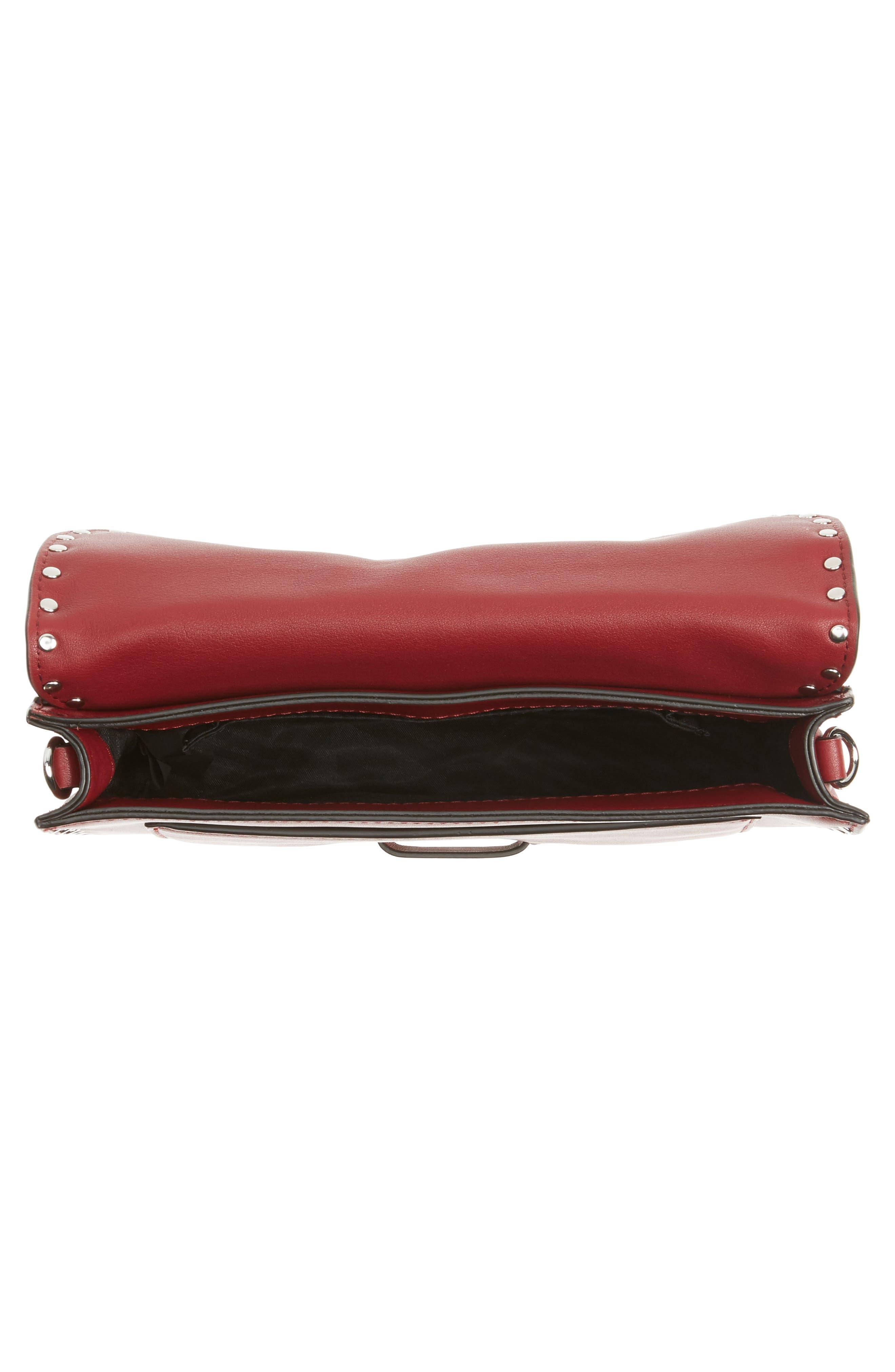 Medium Midnighter Leather Crossbody Bag,                             Alternate thumbnail 4, color,                             Acai