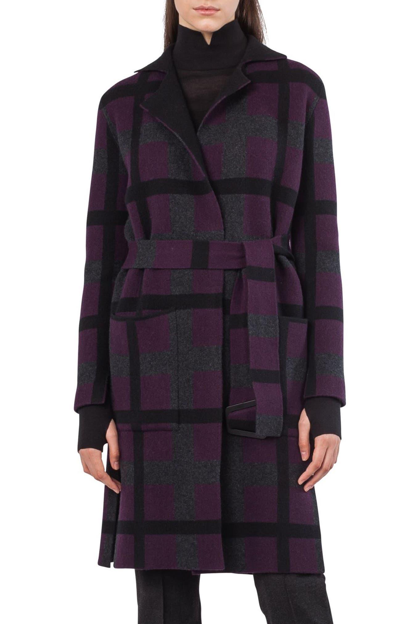 Reversible Double Face Cashmere Coat,                         Main,                         color, Purple/ Black