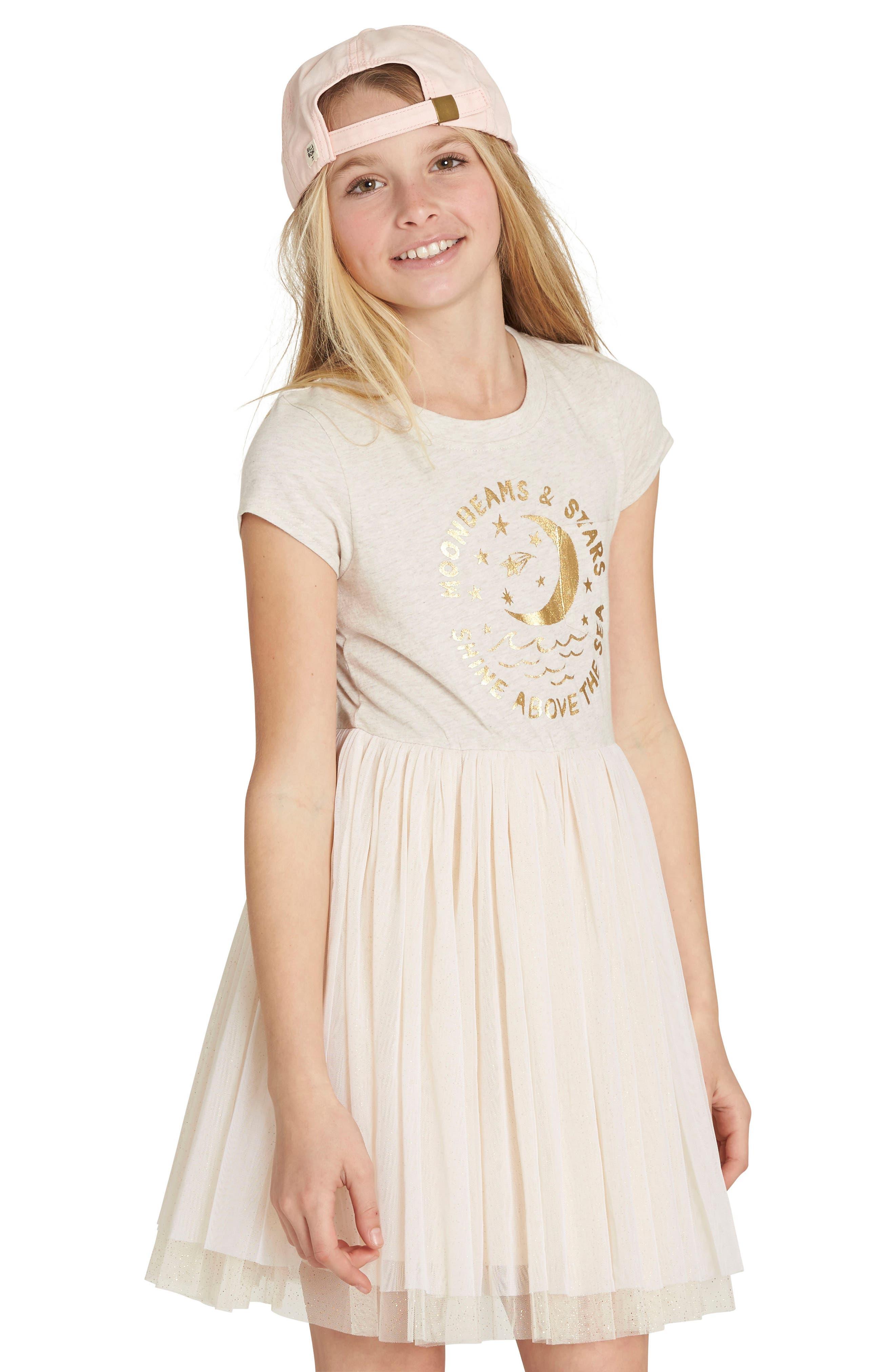 Main Image - Billabong Sunkissed Nights Mixed Media Dress (Little Girls & Big Girls)