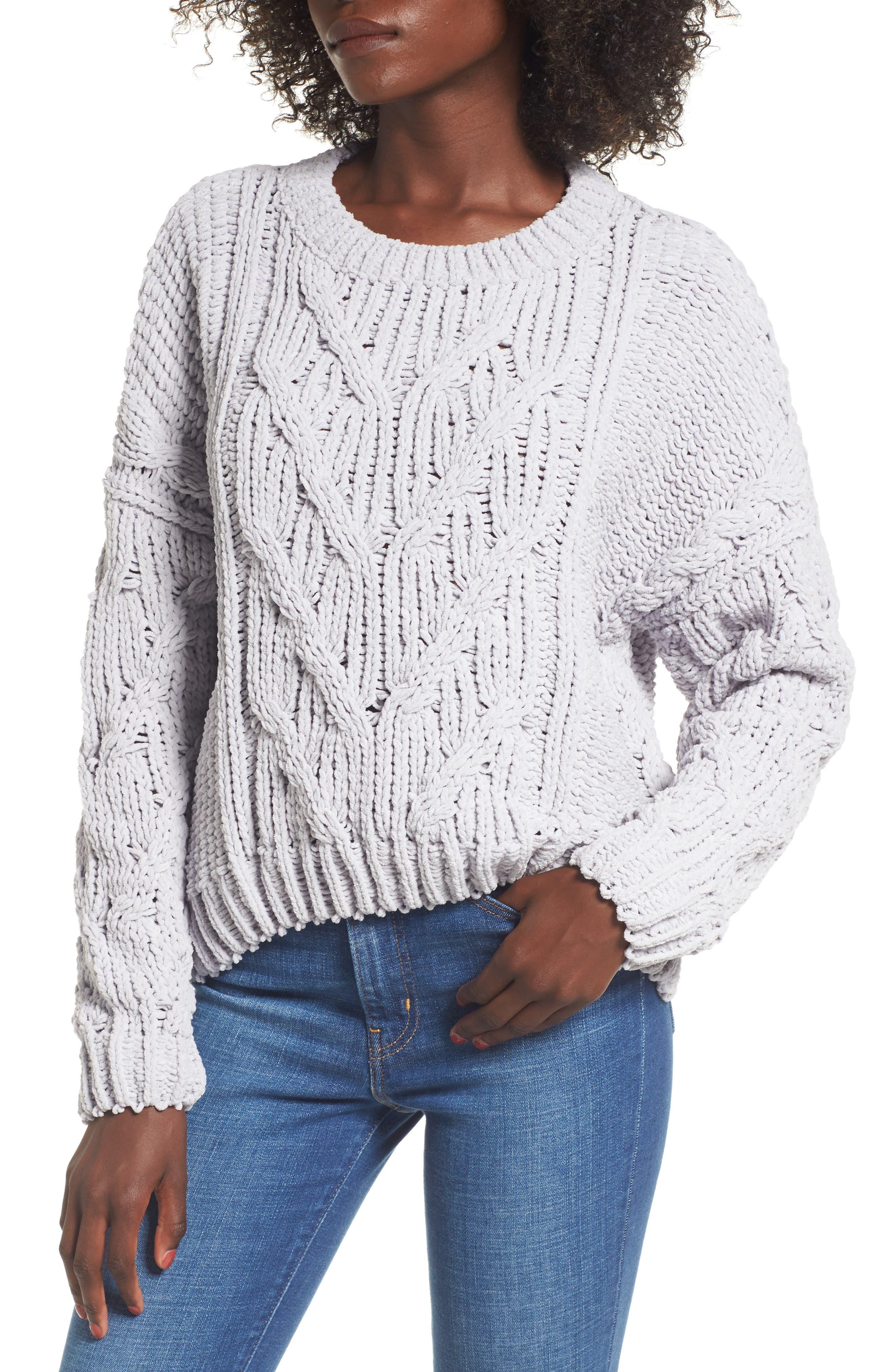 Cozy Crewneck Sweater,                         Main,                         color, Light Grey