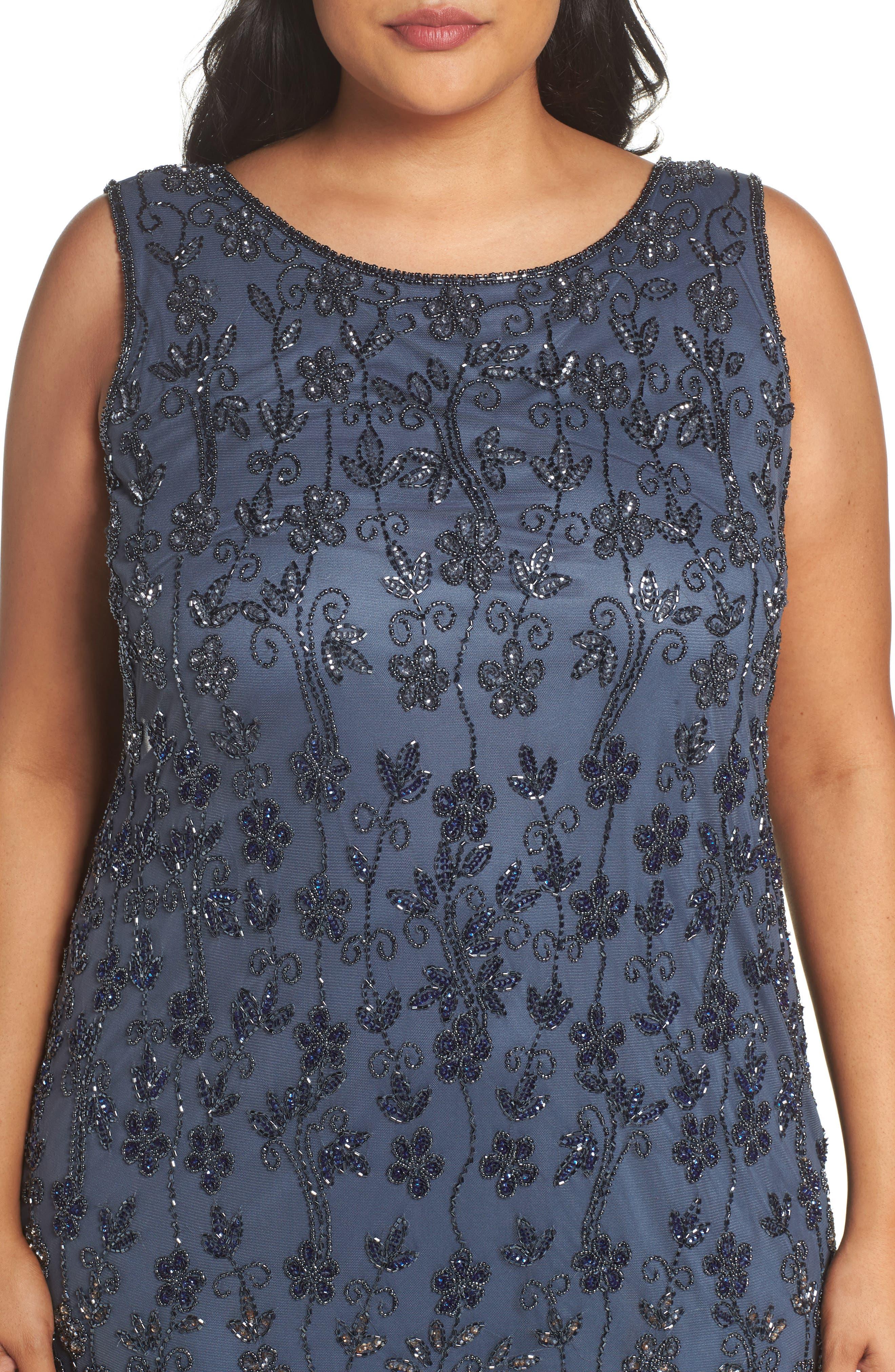 Embellished Mesh Sheath Dress,                             Alternate thumbnail 4, color,                             New Grey