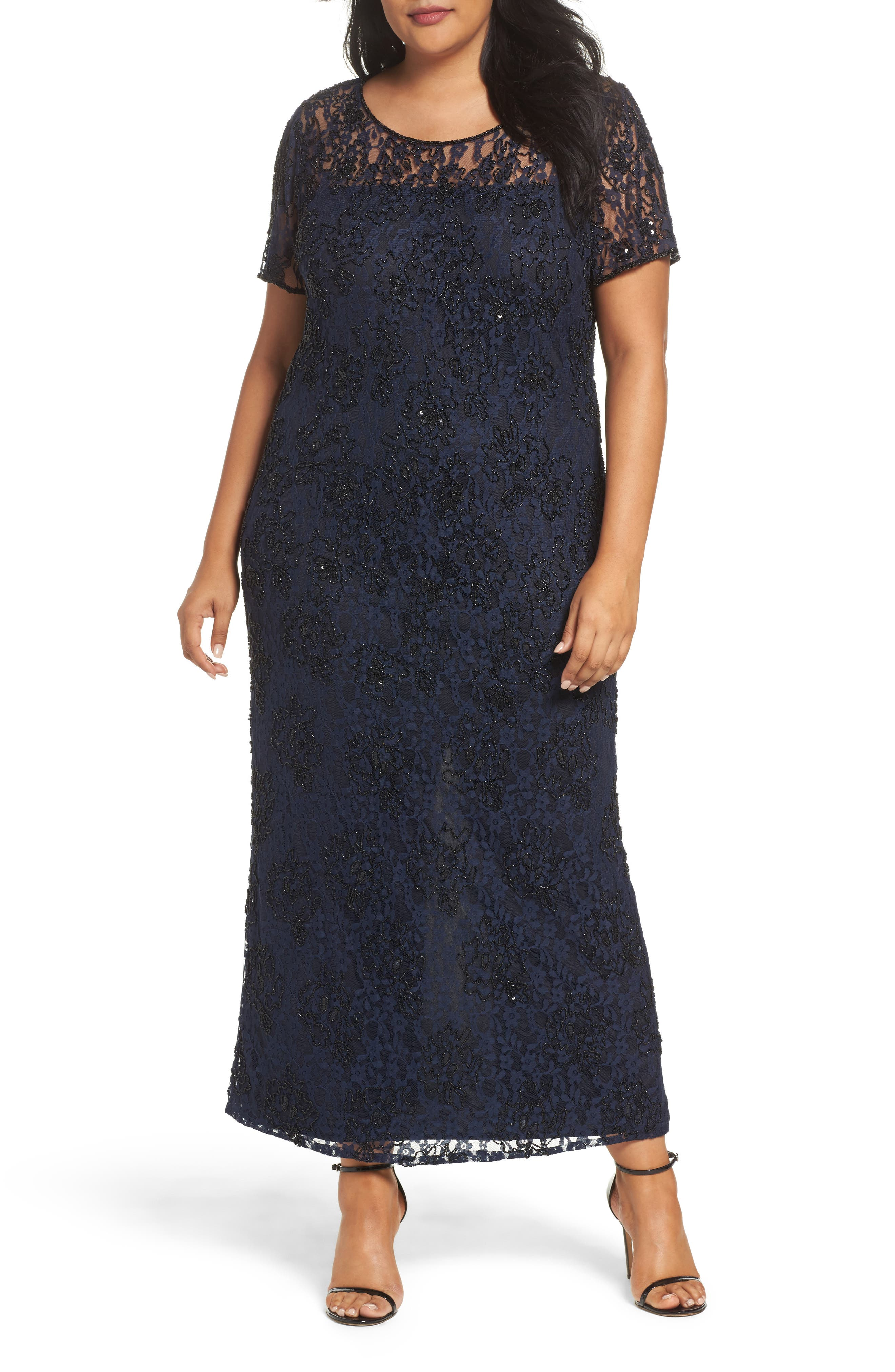 Main Image - Pisarro Nights Beaded Lace Gown (Plus Size)