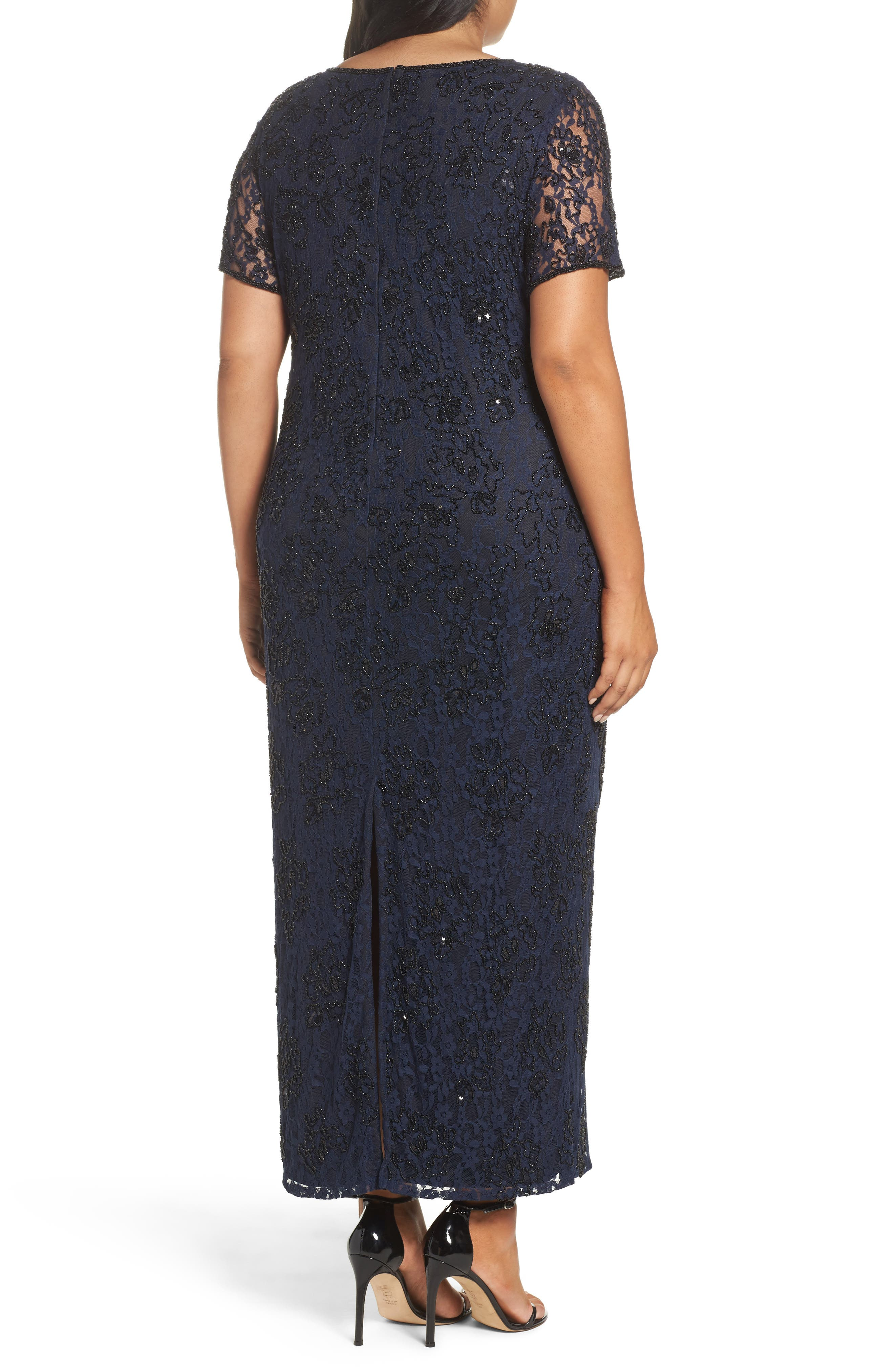 Alternate Image 2  - Pisarro Nights Beaded Lace Gown (Plus Size)