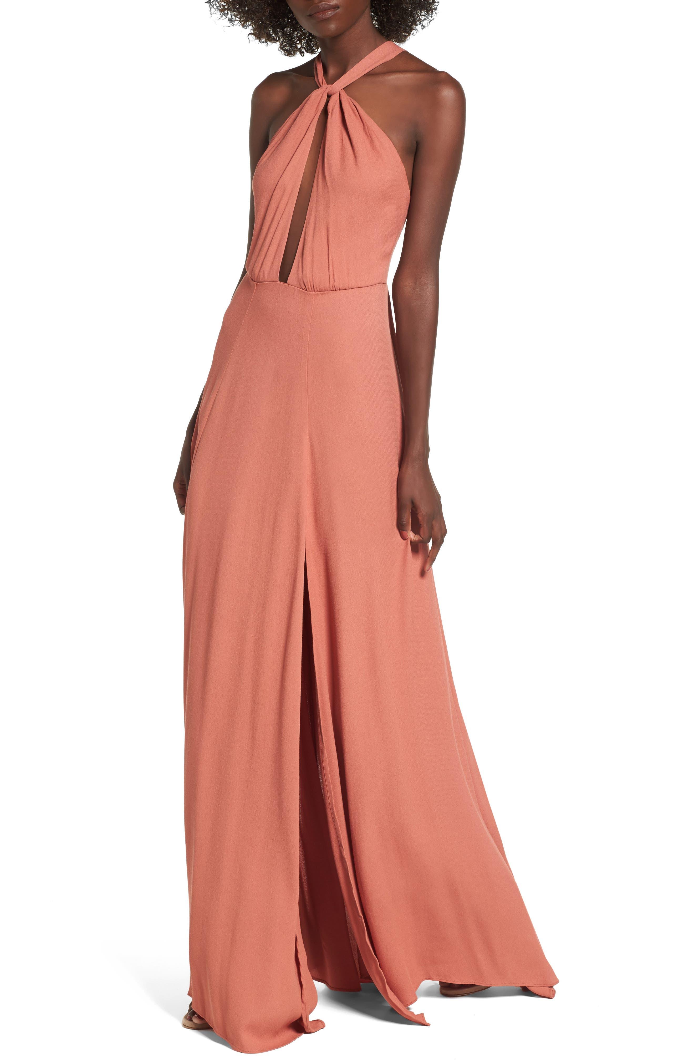 Alternate Image 1 Selected - AFRM Harlean Halter Maxi Dress