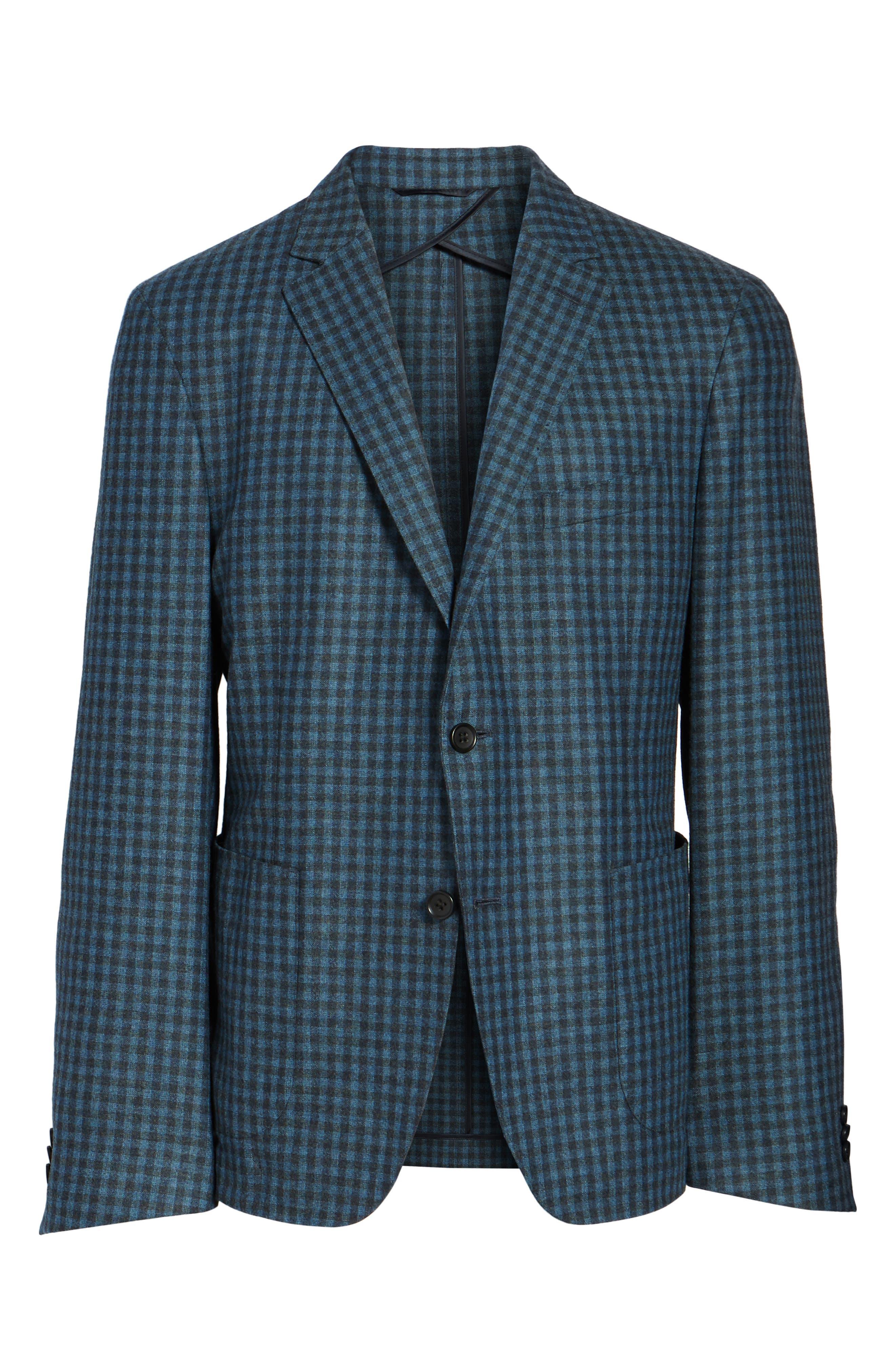 Check Wool Sport Coat,                             Alternate thumbnail 6, color,                             Blue