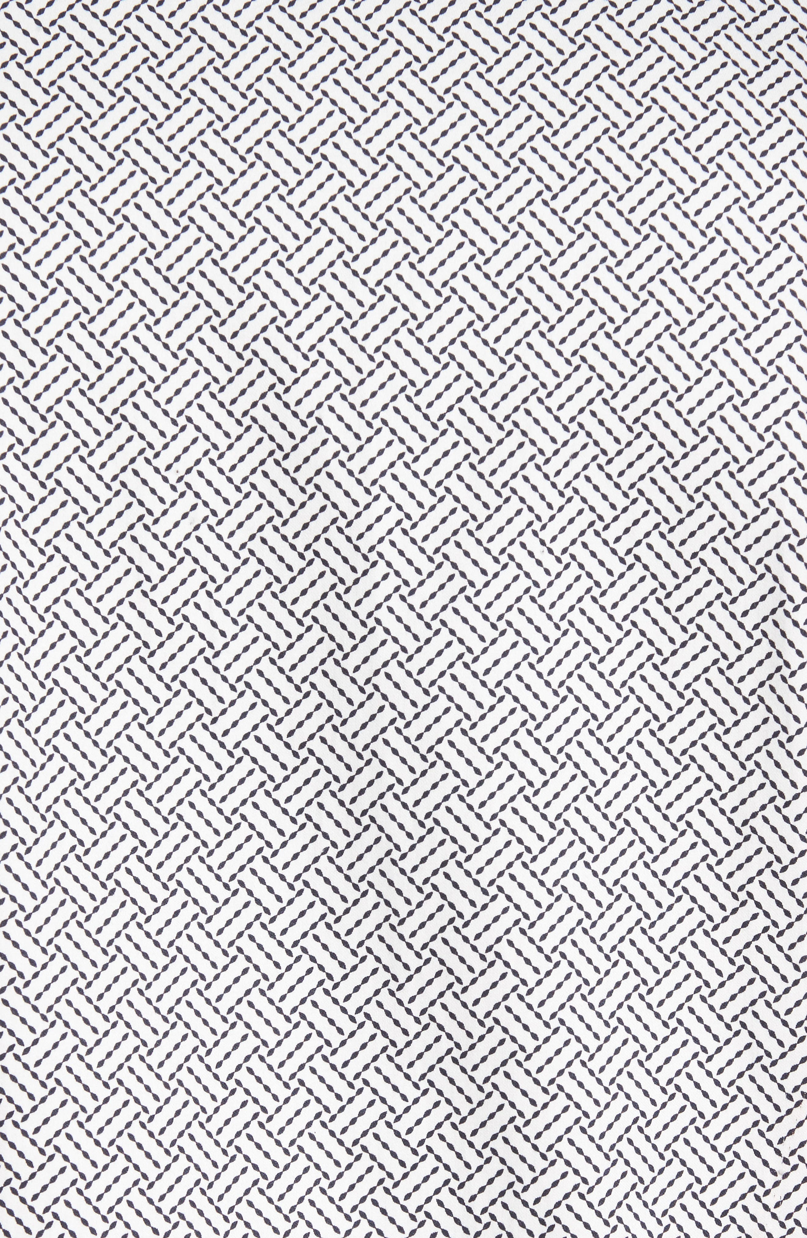 Larosh Slim Fit Basket Weave Print Sport Shirt,                             Alternate thumbnail 5, color,                             White
