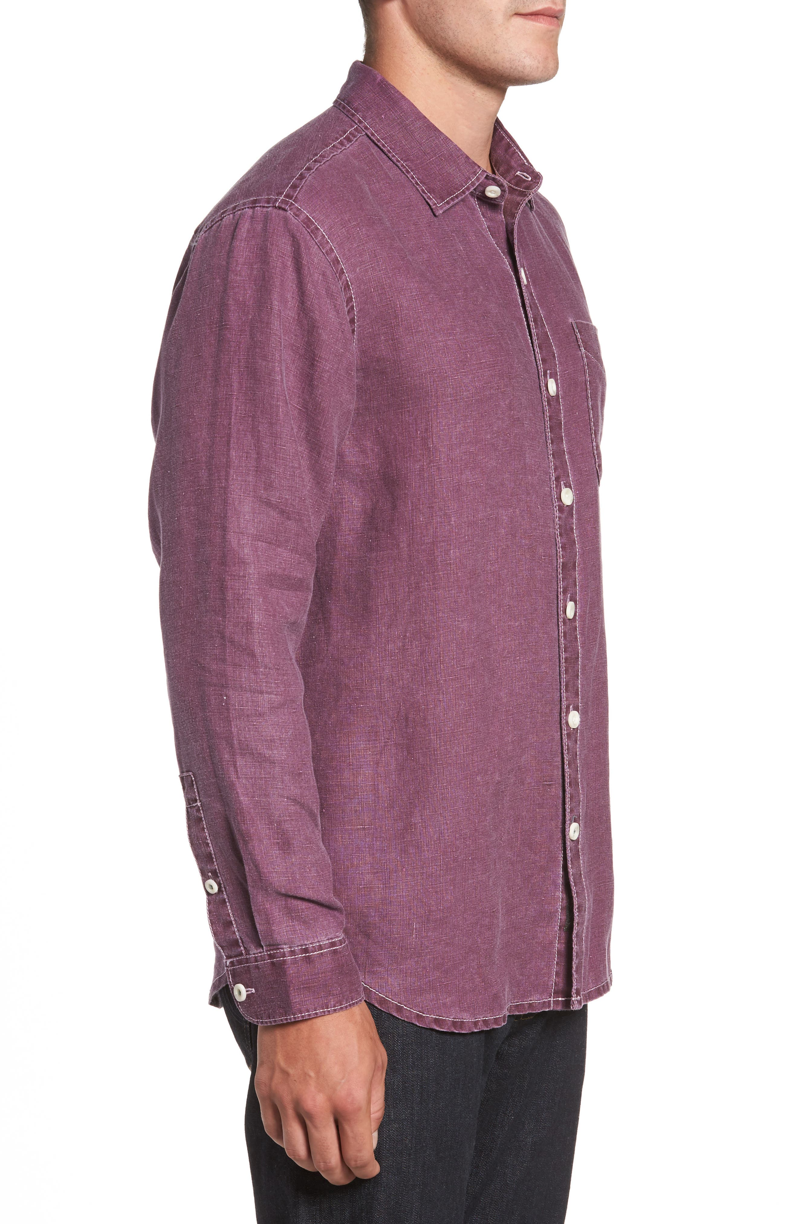 Sea Glass Breezer Linen Sport Shirt,                             Alternate thumbnail 3, color,                             Grape Wine