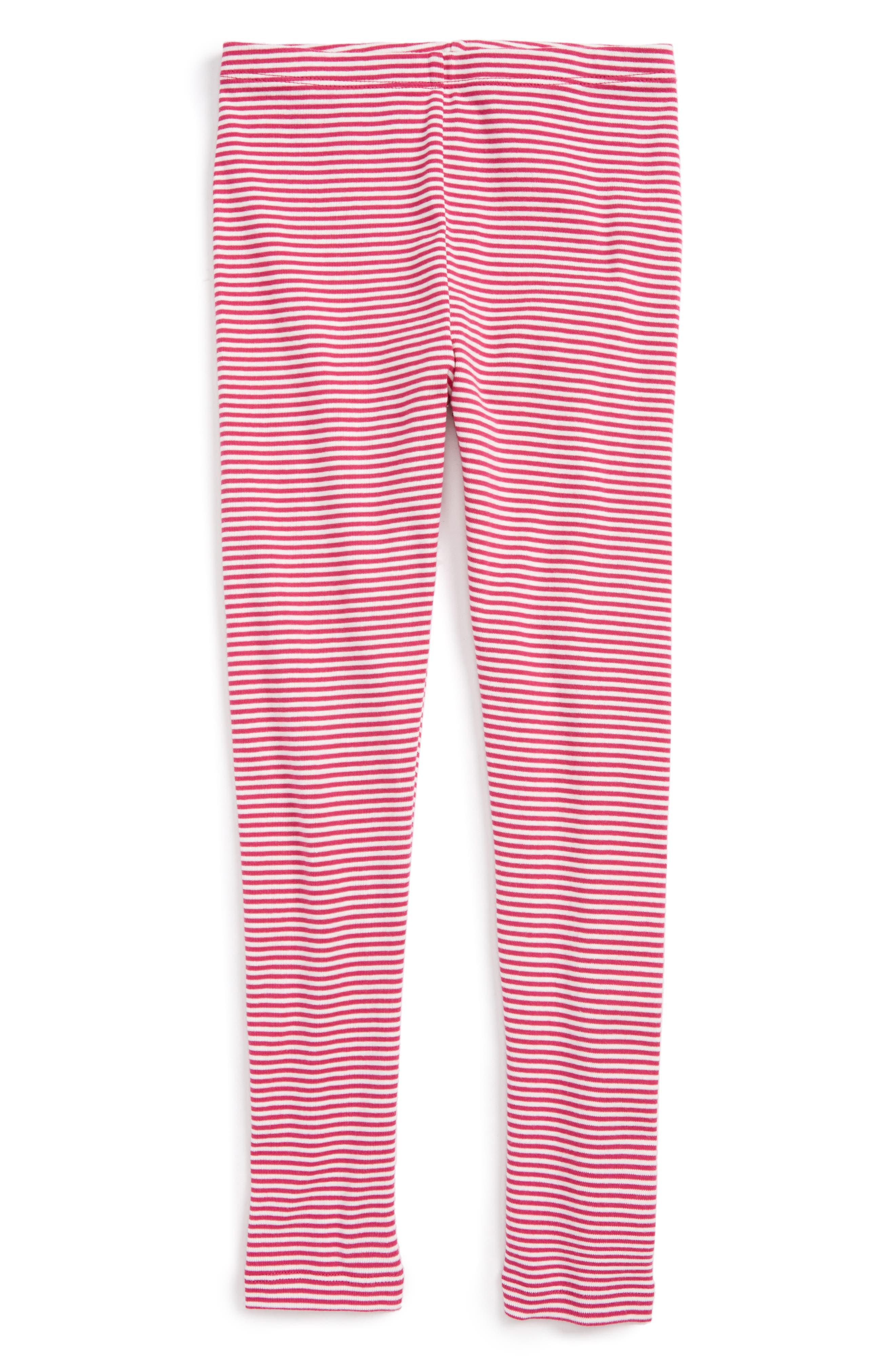 Stripe Cotton Leggings,                         Main,                         color, Shocking Fuschia