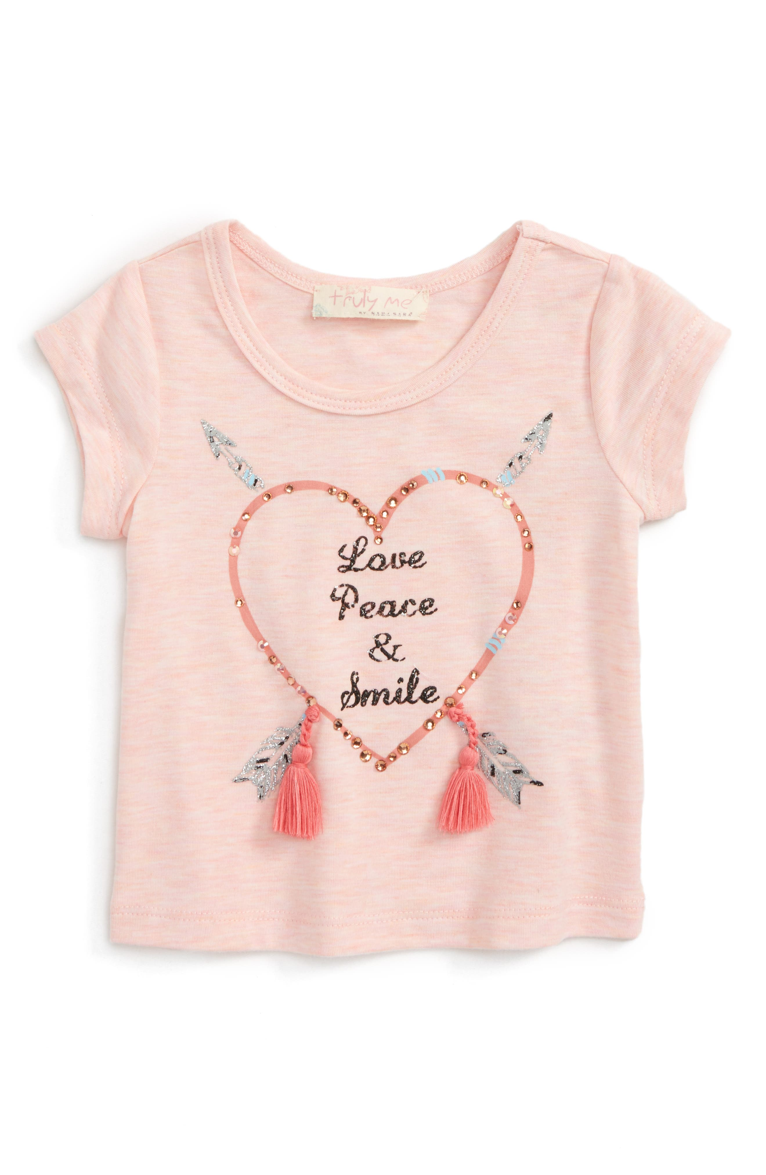 Love Peace Smile Tee,                             Main thumbnail 1, color,                             Light Pink