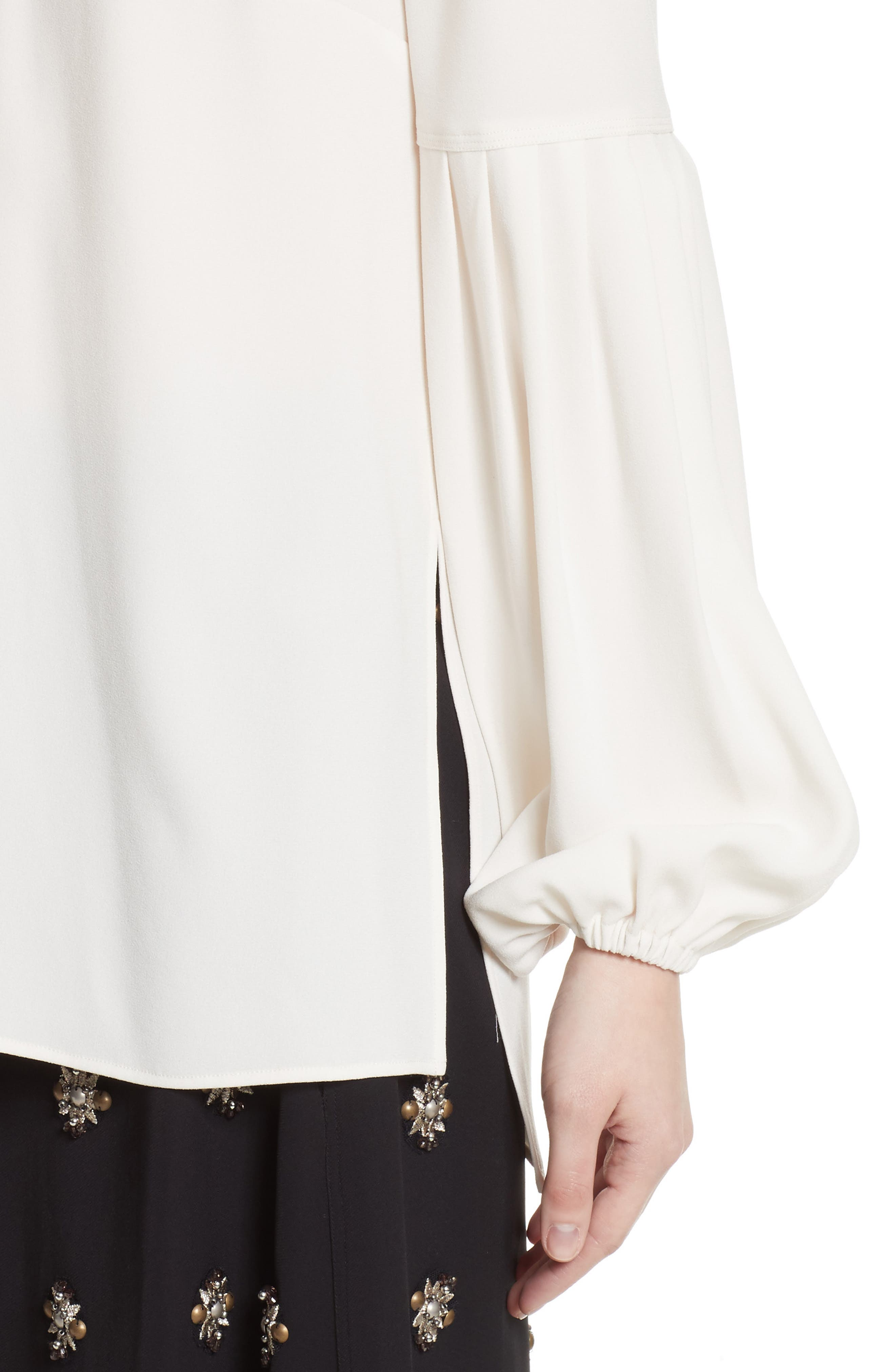 Harriet Puff Sleeve Blouse,                             Alternate thumbnail 5, color,                             Alabaster