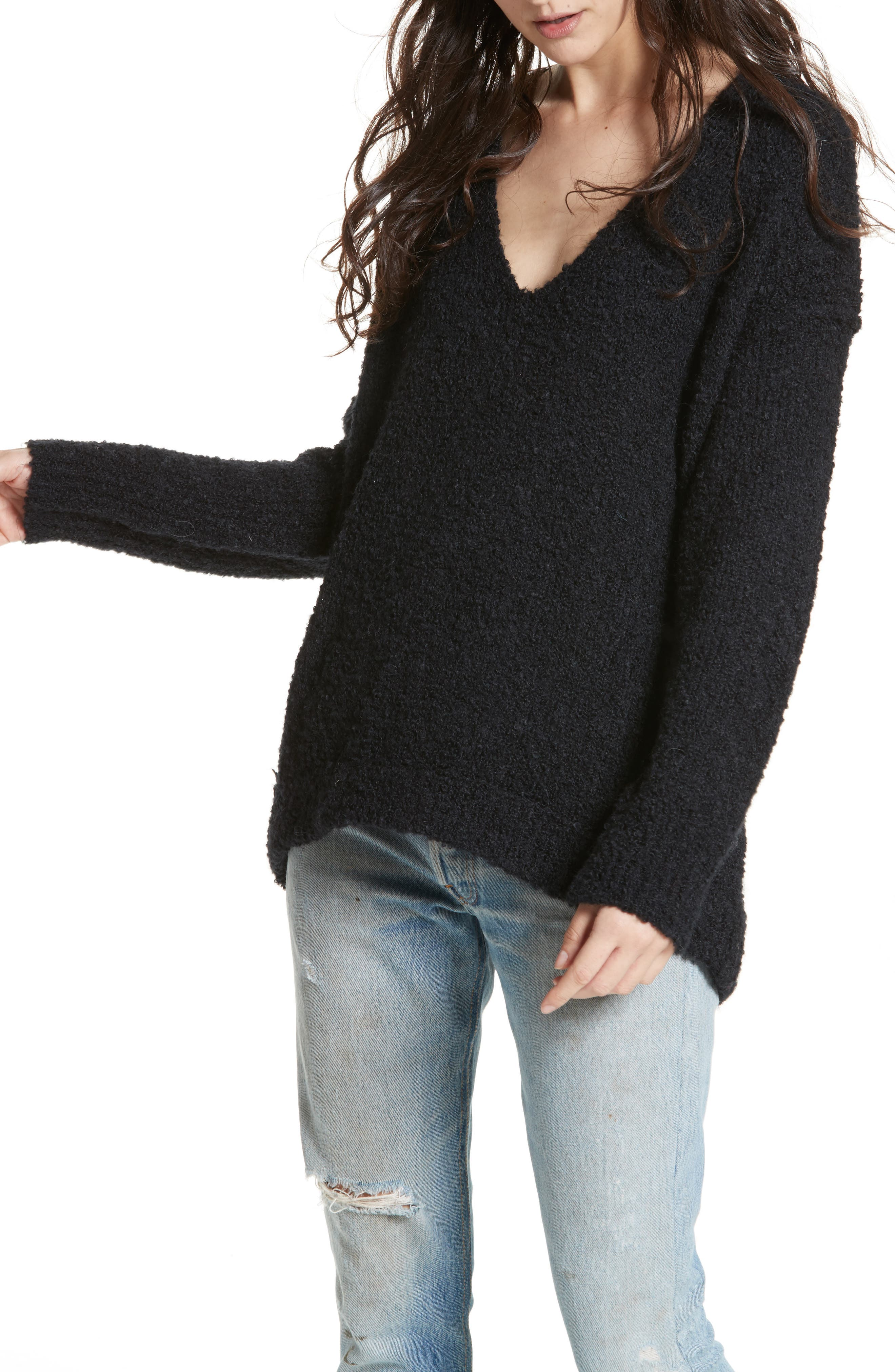 Free People Lofty V Neck Pullover Sweater In Black Modesens