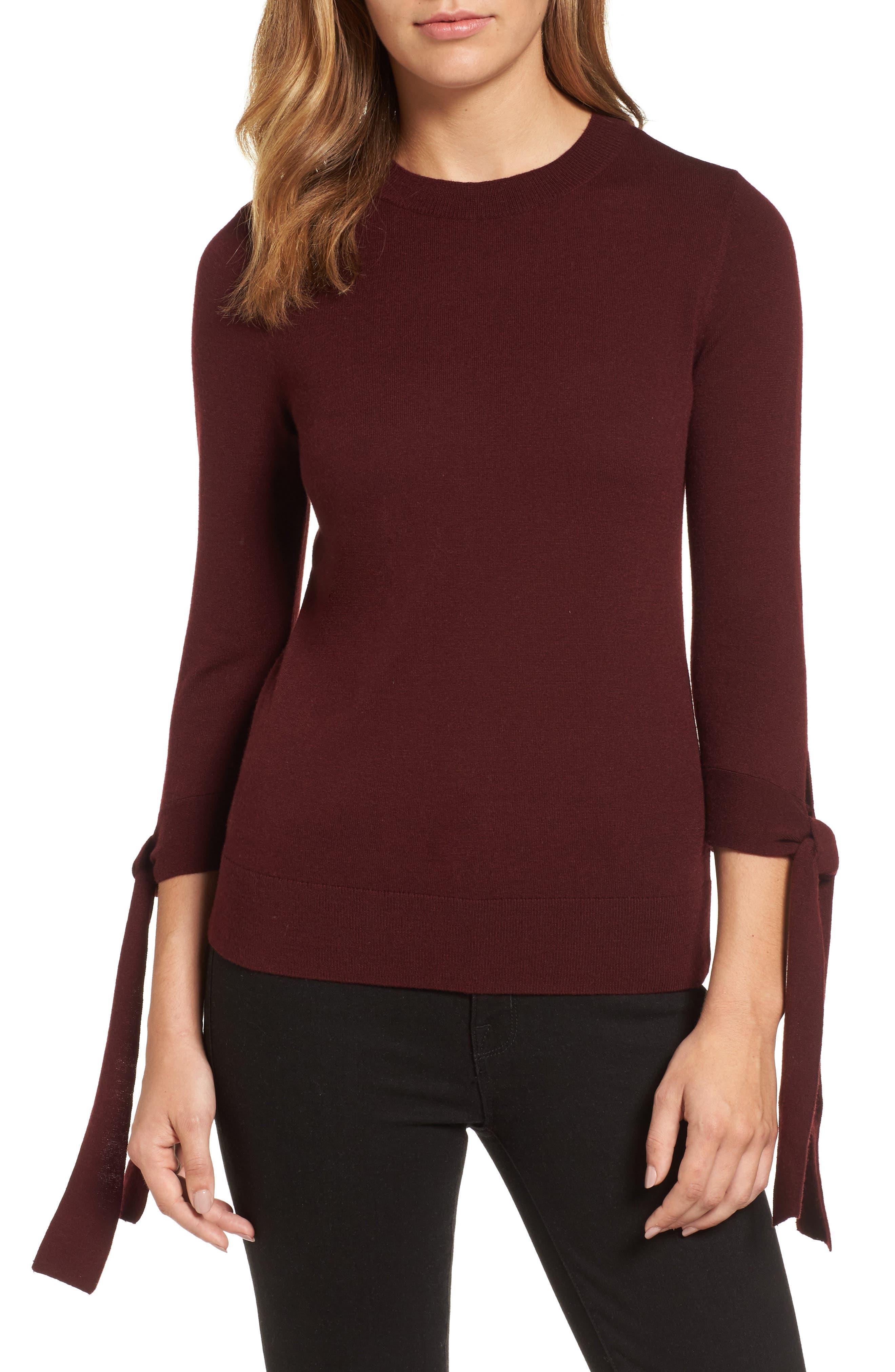 Main Image - Halogen® Tie Sleeve Crewneck Sweater (Regular & Petite)